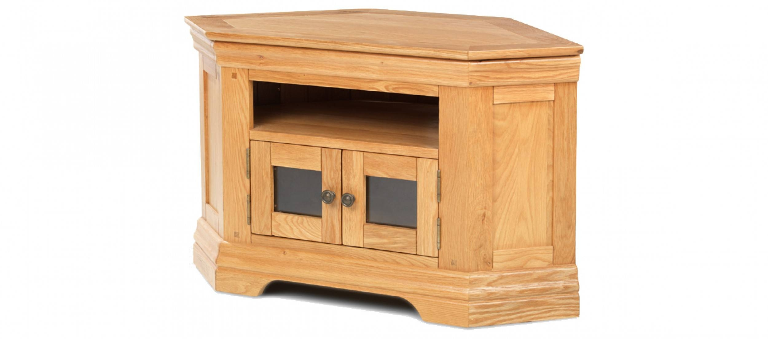 Constance Oak Corner Tv Cabinet | Quercus Living with Oak Corner Tv Stands (Image 2 of 15)