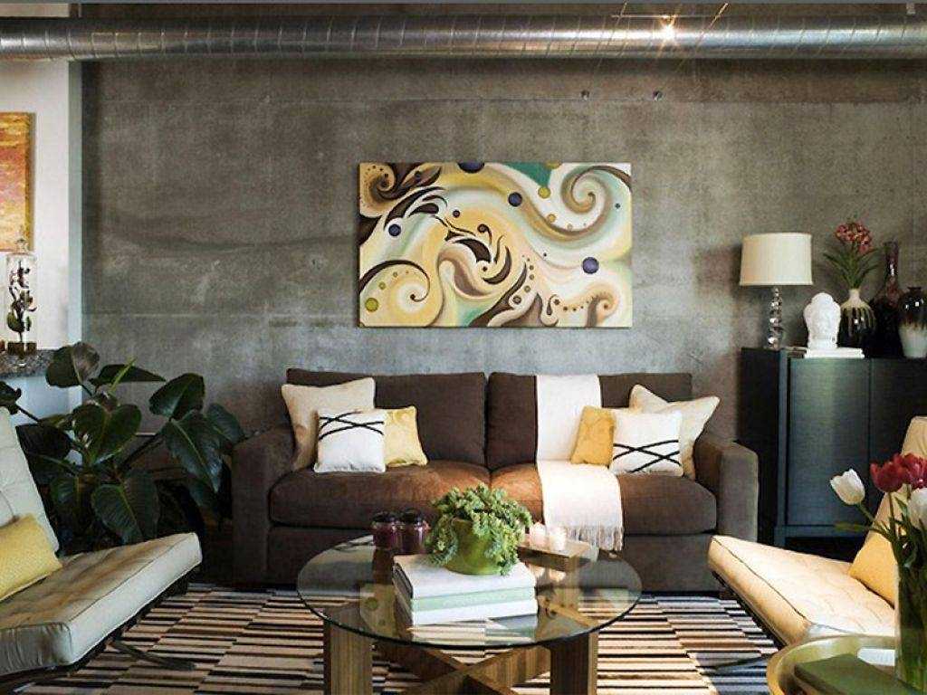 Contemporary Living Room Decor With Brown Sofa And Abstract for Brown Sofas Decorating (Image 8 of 15)