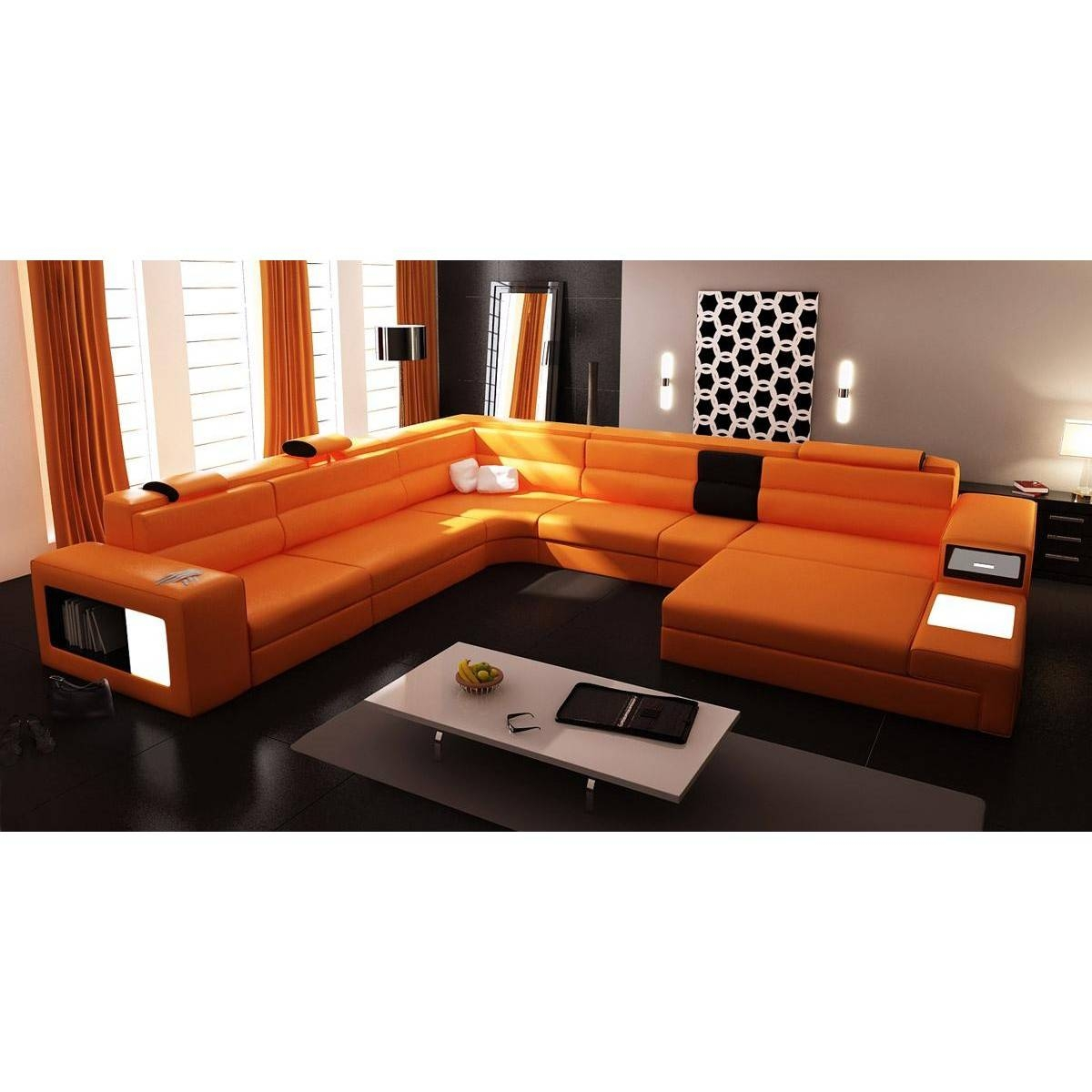 Contemporary & Luxury Furniture; Living Room, Bedroom,la Furniture throughout Orange Sectional Sofas (Image 6 of 15)