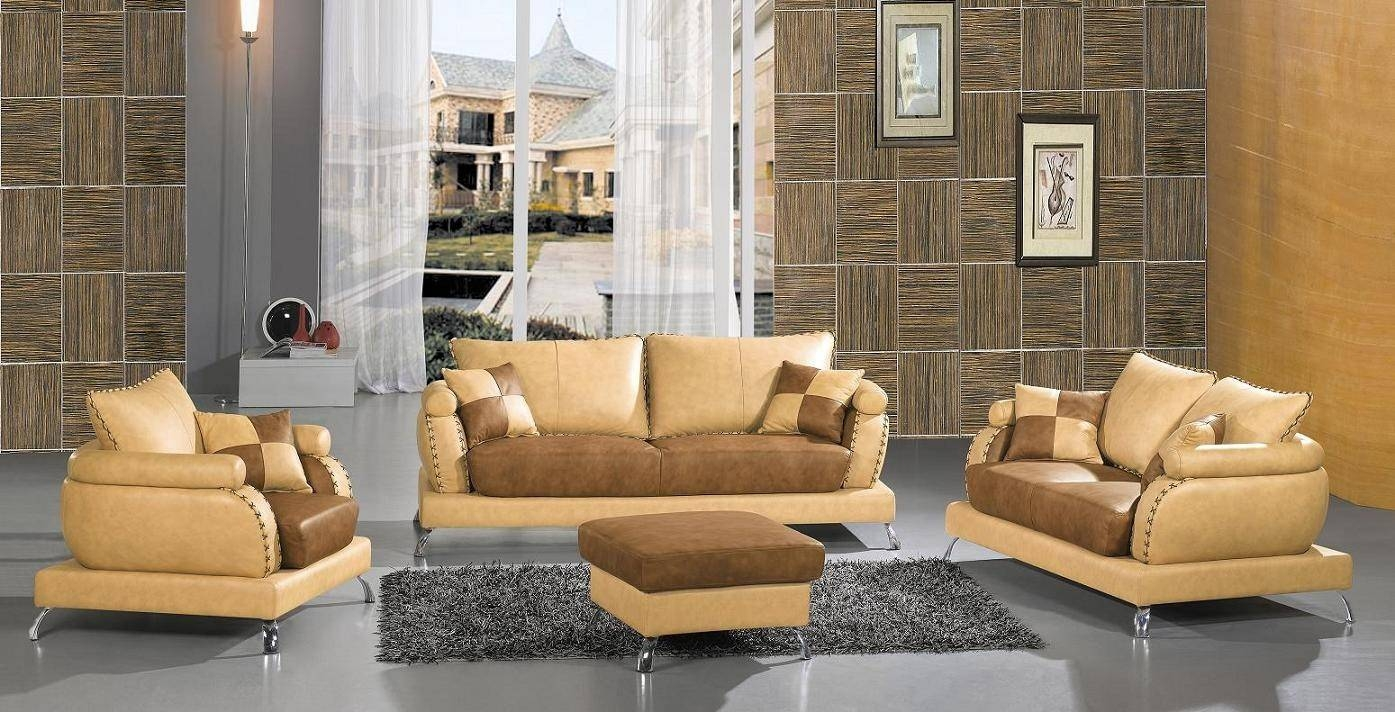 Contemporary Modern Leather Sofa Set In Camel Colored Leather Sofas (View 5 of 15)