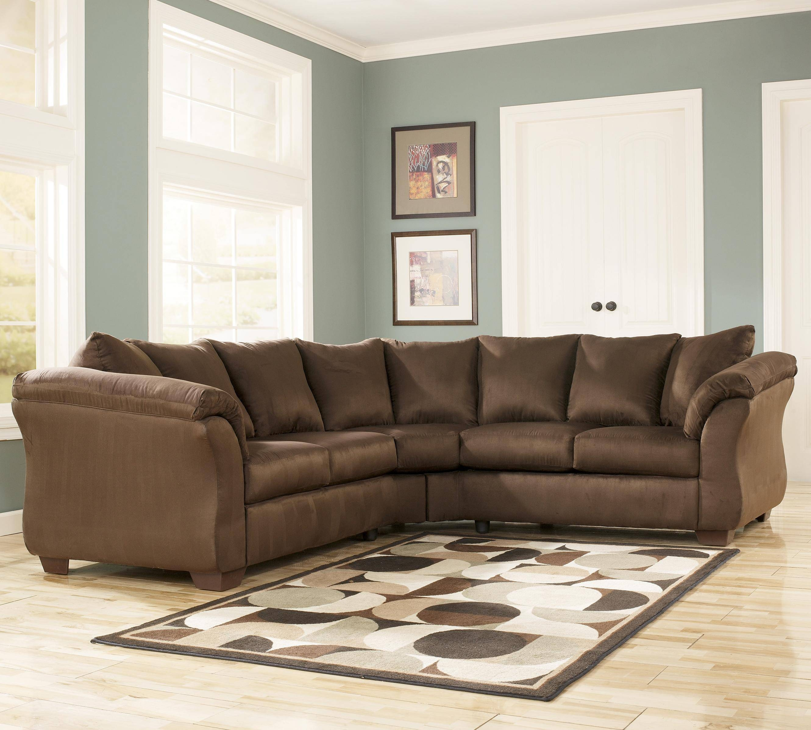 Contemporary Sectional Sofa With Sweeping Pillow Armssignature throughout Signature Design Sectional Sofas (Image 5 of 15)