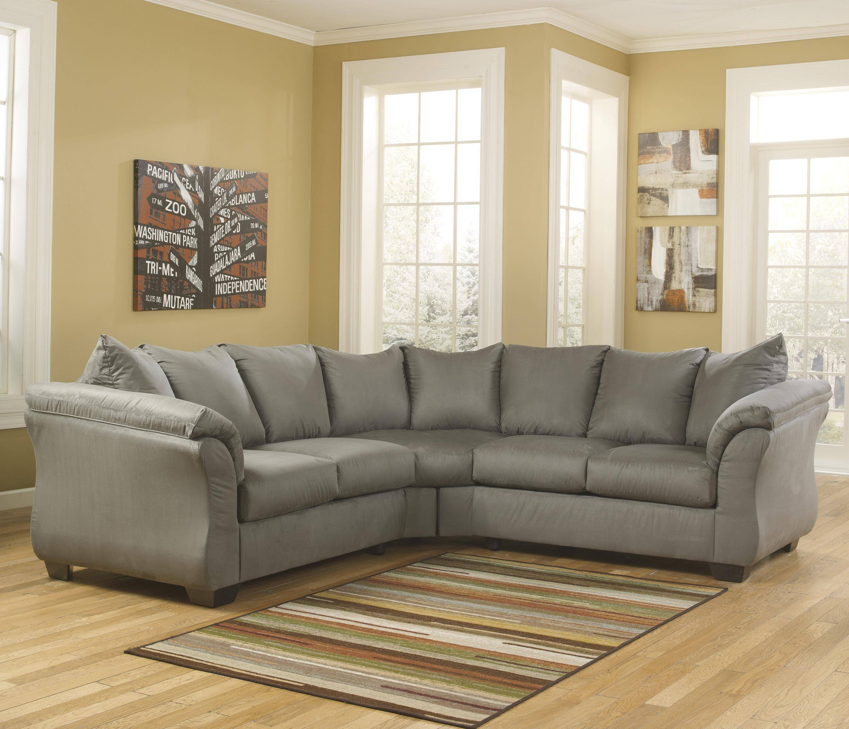 Contemporary Sectional Sofa With Sweeping Pillow Armssignature within Signature Design Sectional Sofas (Image 7 of 15)