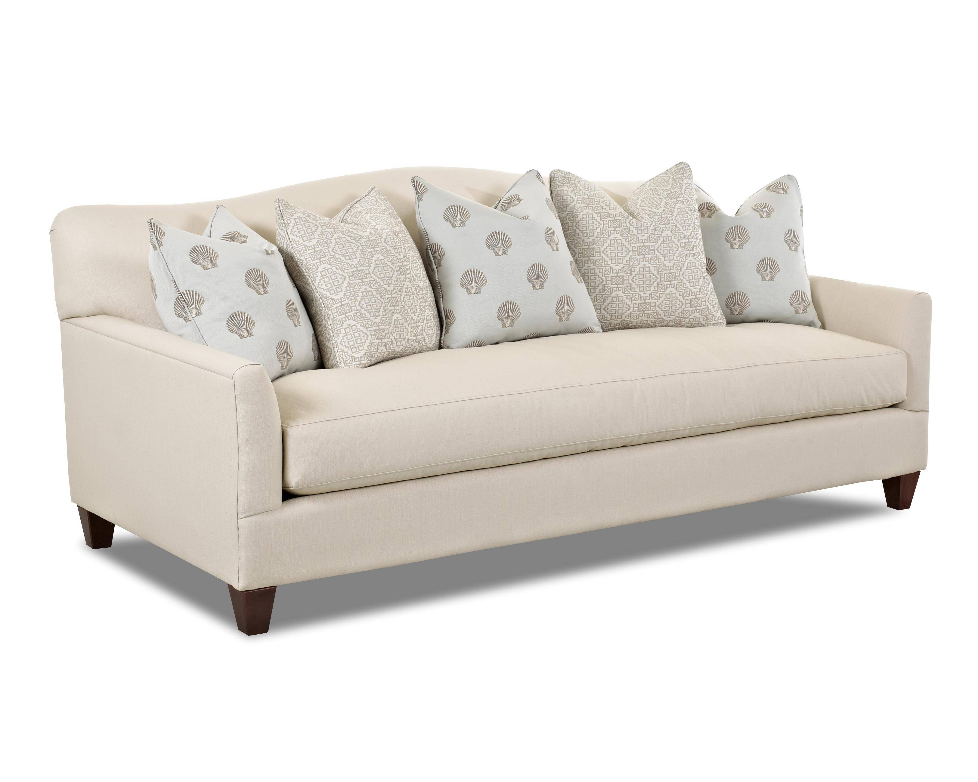 Contemporary Stationary Sofa With Bench Seat Cushion And Camel with regard to Bench Cushion Sofas (Image 3 of 15)