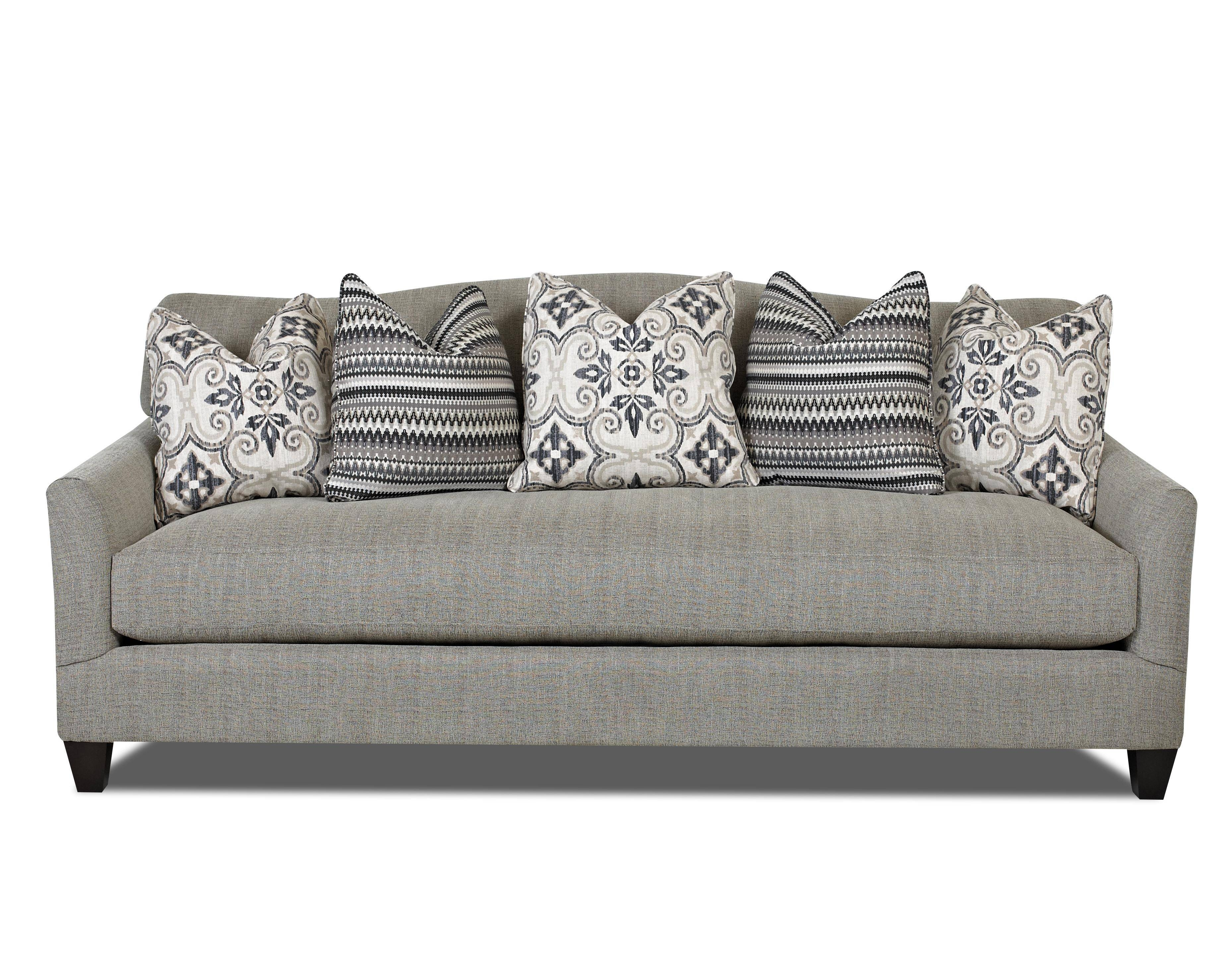 Contemporary Stationary Sofa With Bench Seat Cushion And Camel with regard to Bench Cushion Sofas (Image 2 of 15)