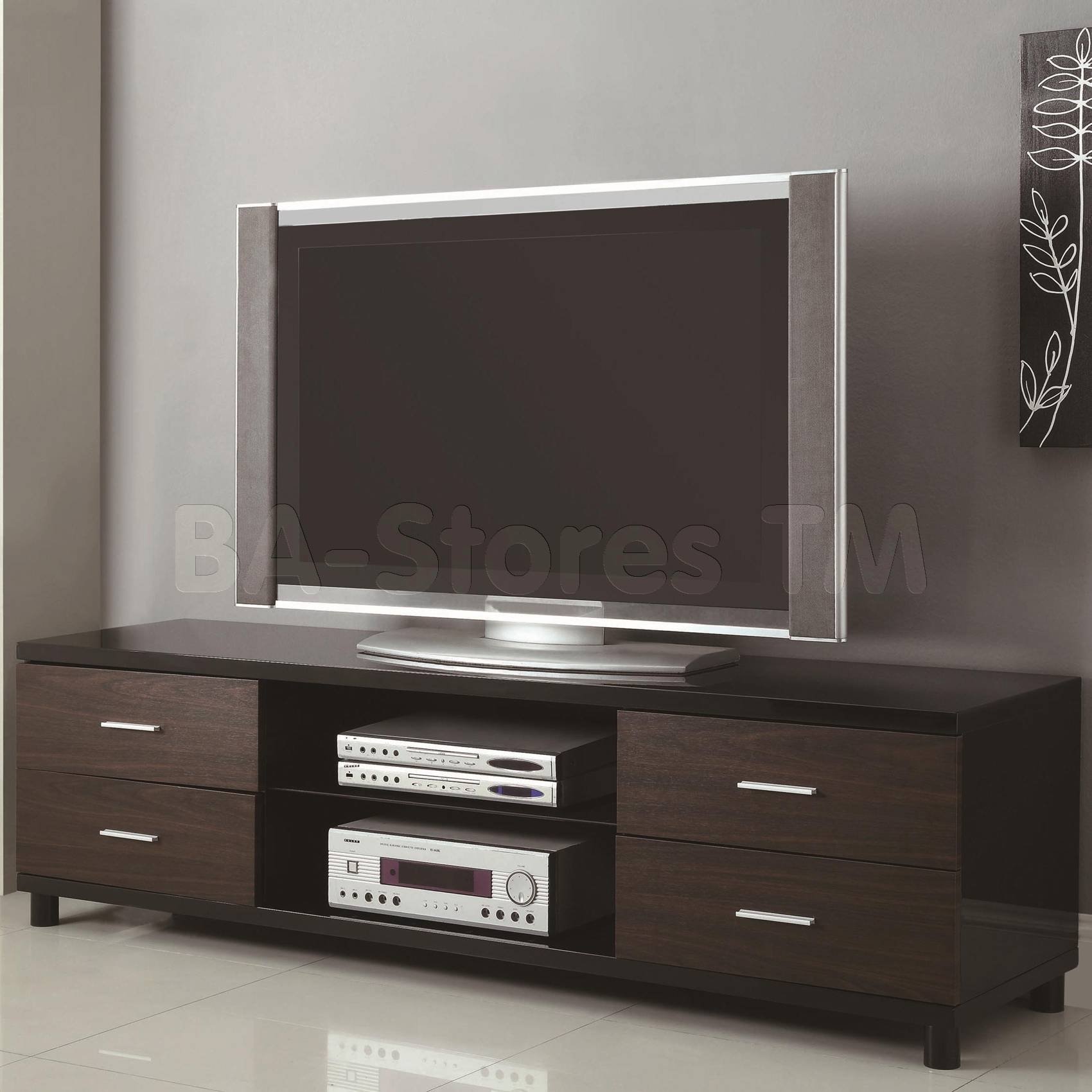 Contemporary Tv Stand With Four Storage Drawers & Two Shelves | Tv Throughout Tv Stands With Drawers And Shelves (View 9 of 15)
