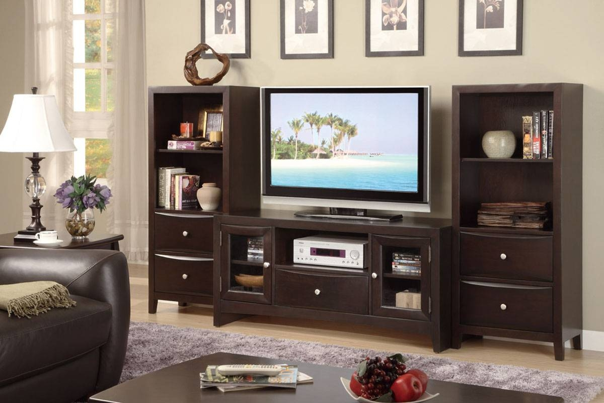 Contemporary Tv Stand With Glass Panel Side Storage   Huntington Regarding Storage  Tv Stands (Image