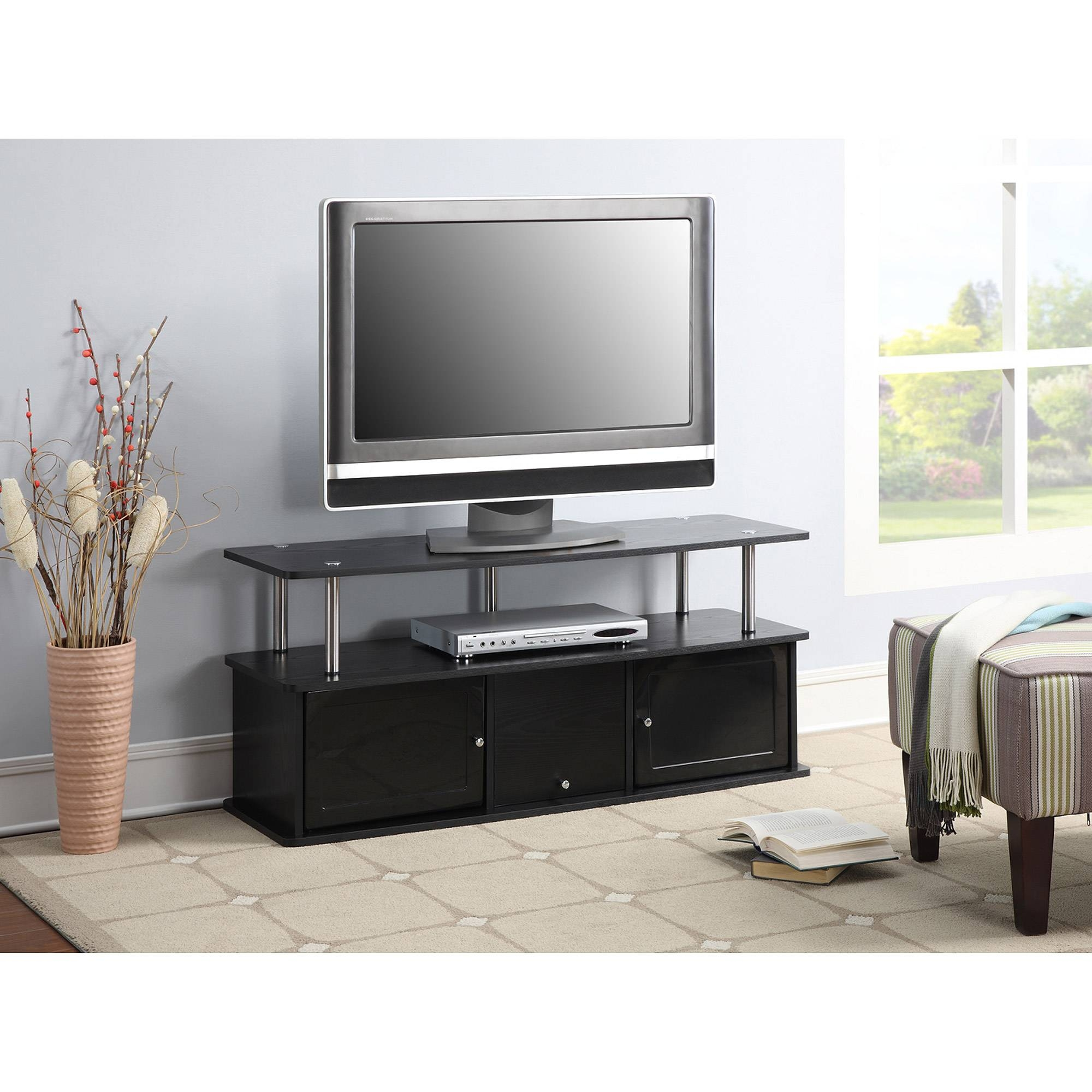 Convenience Concepts Designs2Go Cherry Tv Stand With 3 Cabinets within Cherry Tv Stands (Image 6 of 15)