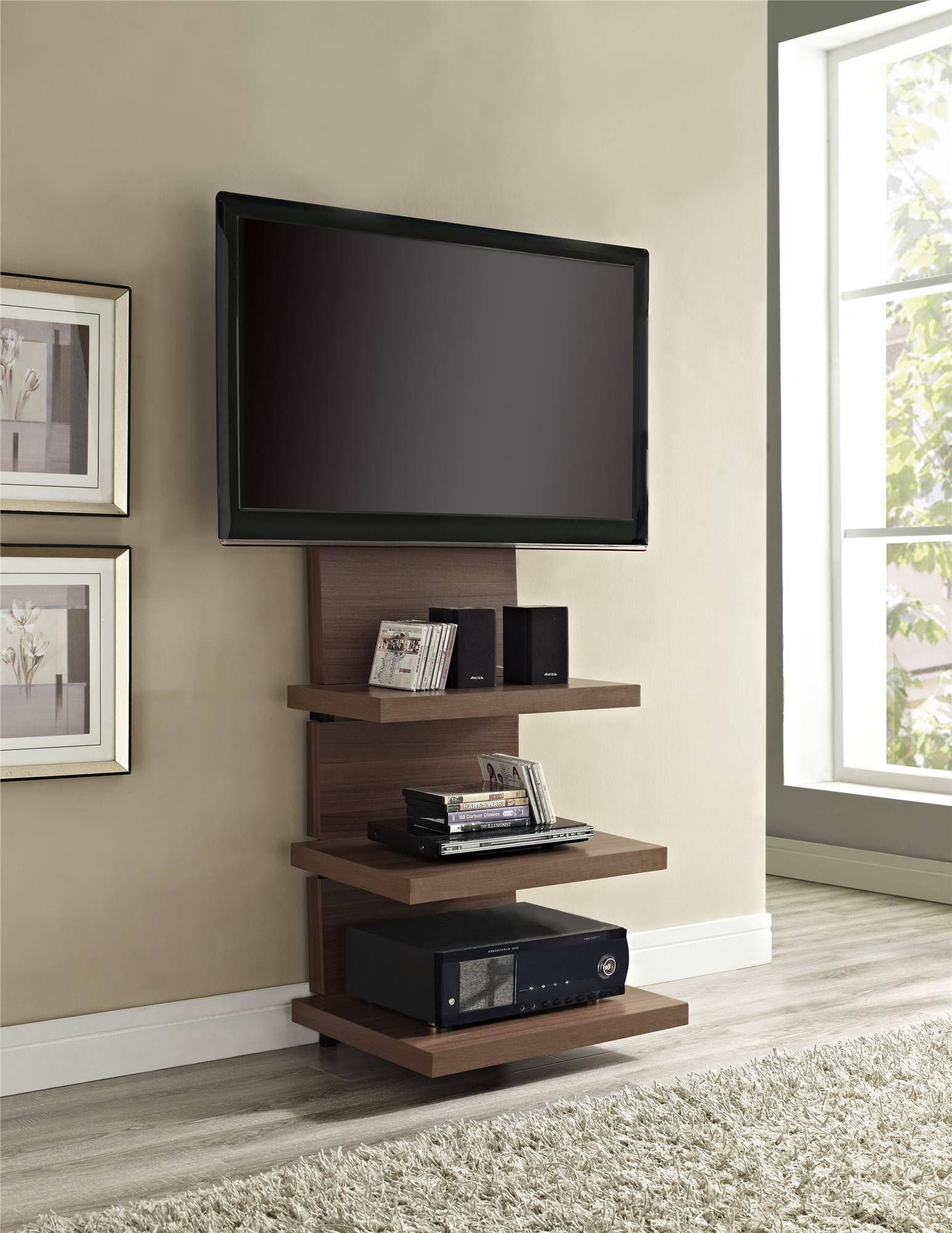 Cool Custom Modern Vertical Wood Tv Stands With Floating Display In Cool Tv Stands (View 7 of 15)