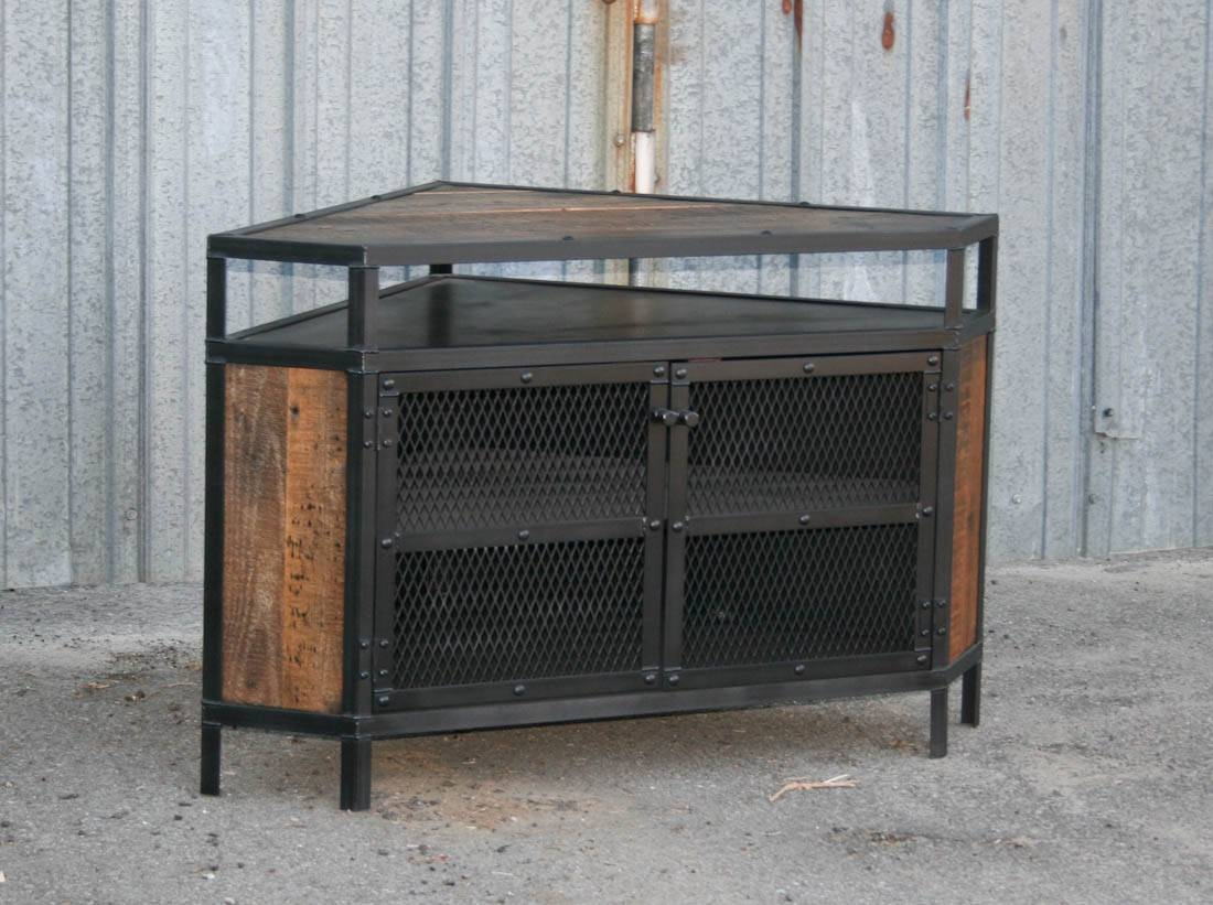 Cool Diy Industrial Corner Tv Stands Made From Wood And Metal With inside Industrial Corner Tv Stands (Image 5 of 15)