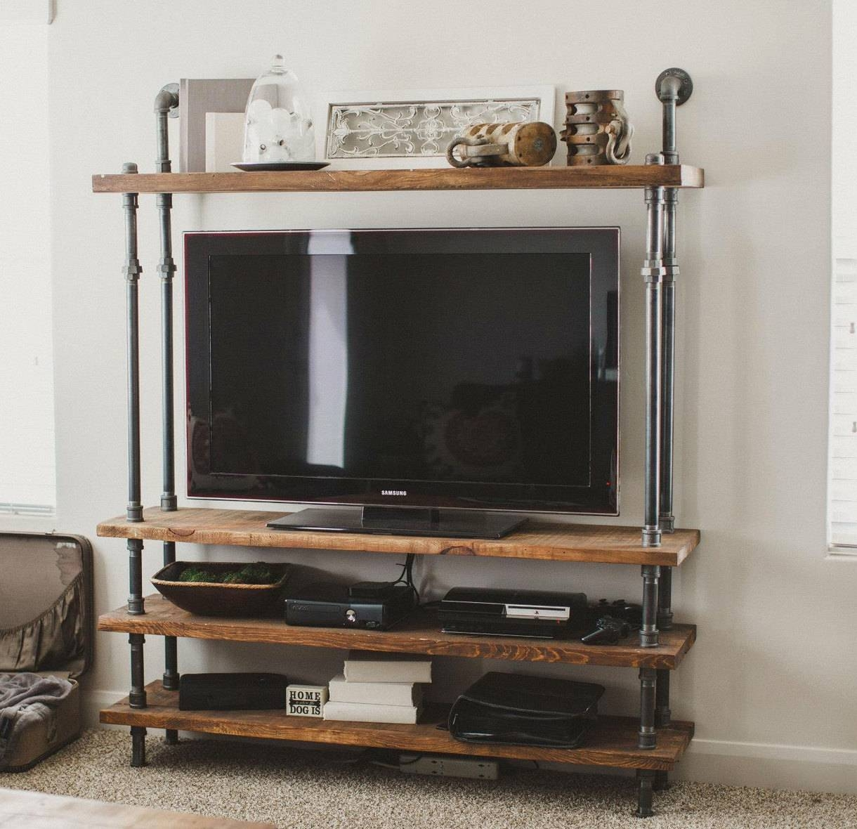 Cool Diy Industrial Pipe And Wood Combo Tv Stand With Shelves Of intended for Tv Stands Bookshelf Combo (Image 3 of 15)