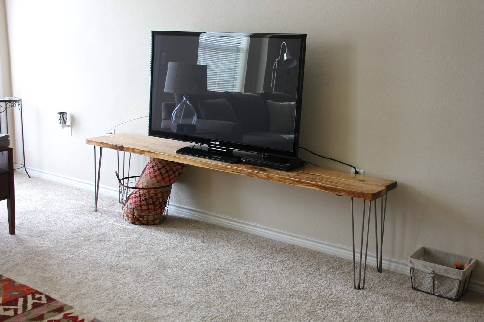 Cool Diy Narrow Wood Industrial Tv Stands With Hairpin Legs Ideas Within Cool Tv Stands (View 8 of 15)