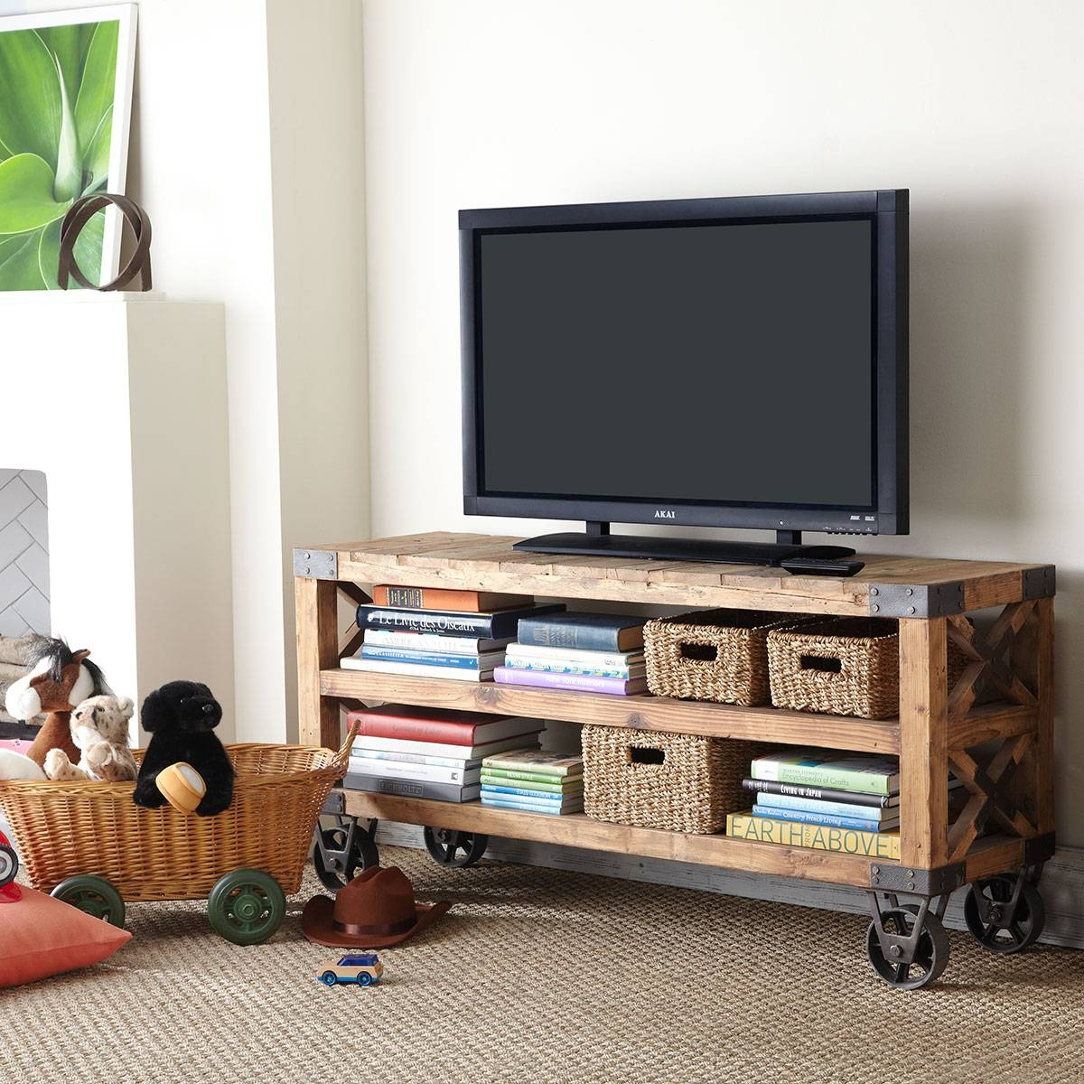 Cool Homemade Industrial Tv Stands With Wheels Made From Reclaimed with Recycled Wood Tv Stands (Image 2 of 15)