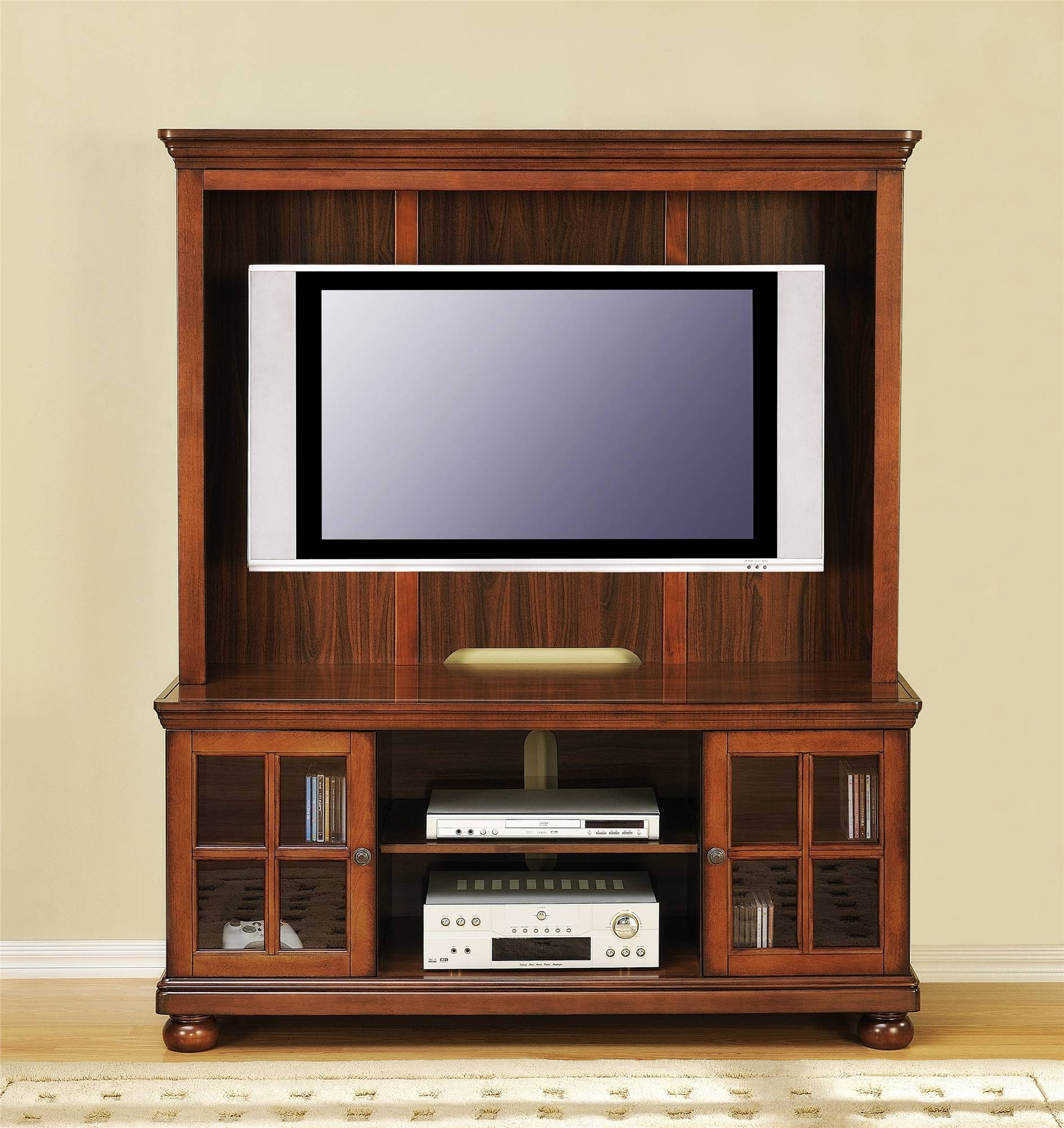 Cool Wood Tv Stand With Glass Doors Of Cool Tv Stand Designs intended for Wooden Tv Stands For Flat Screens (Image 1 of 15)