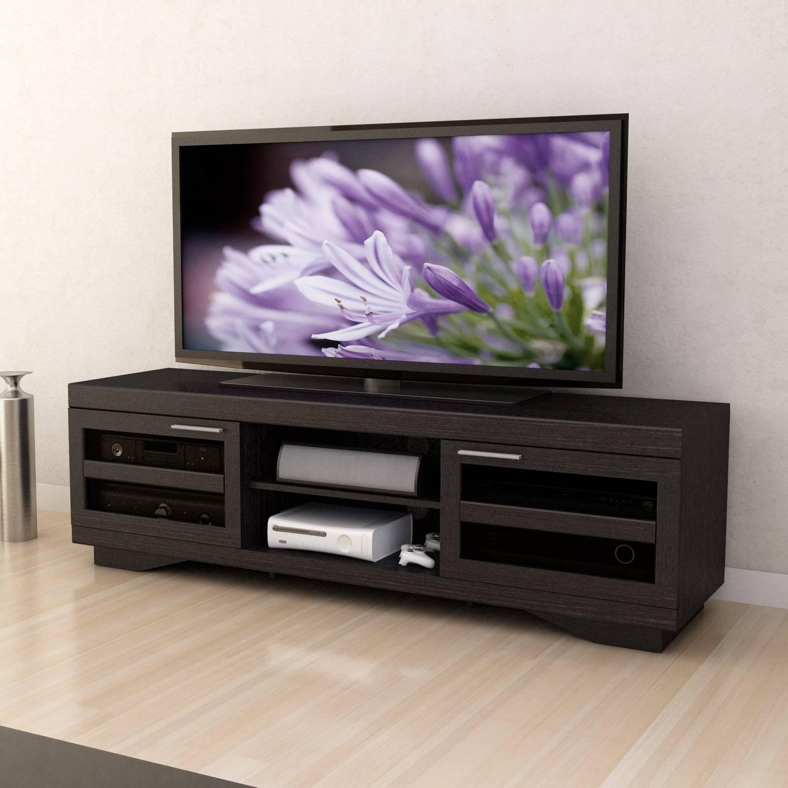 Corliving B-007-Rgt Granville 66 In. Wood Veneer Tv Bench - Mocha in Hokku Tv Stands (Image 2 of 15)