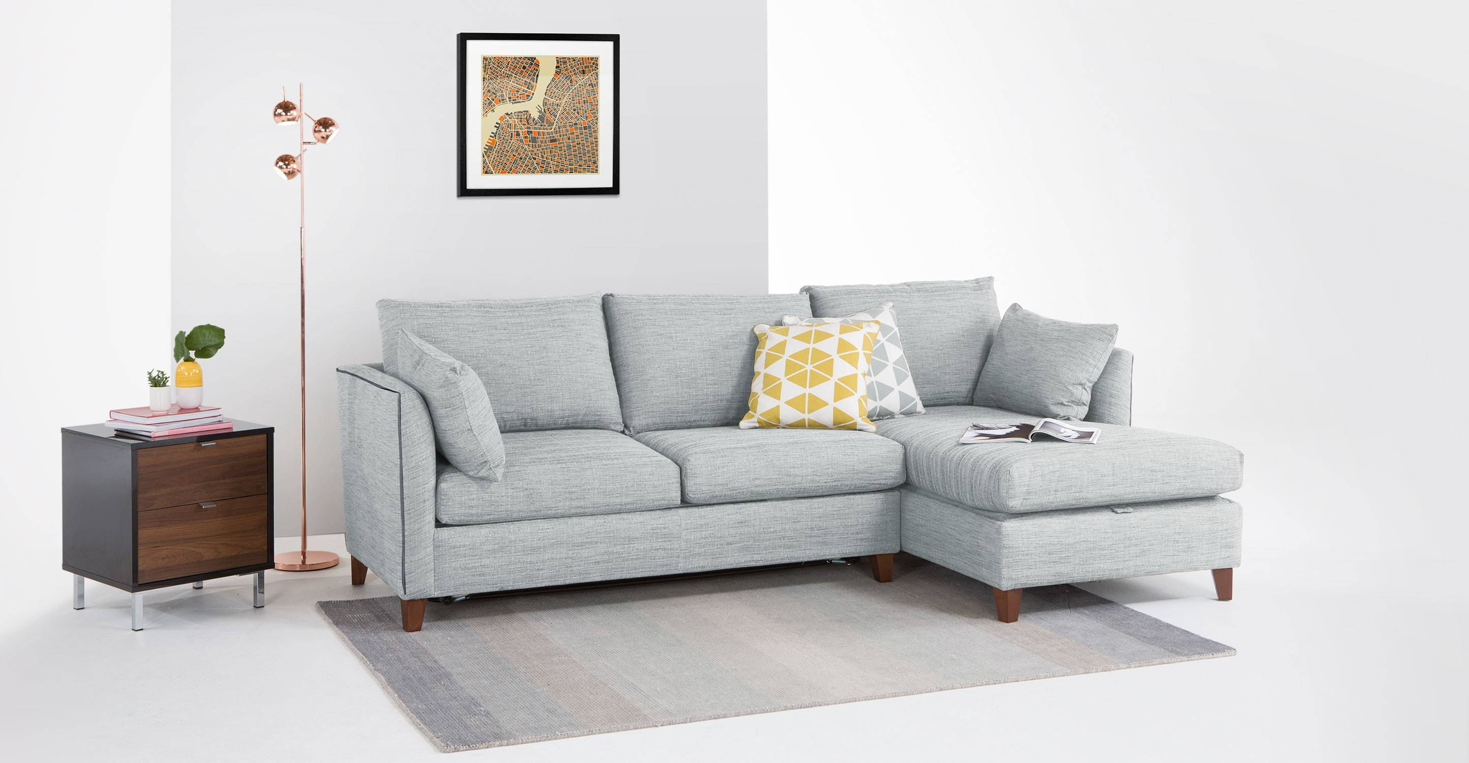 Corner Sofa Bed With Storage London | Centerfieldbar with regard to Blue Grey Sofas (Image 4 of 15)