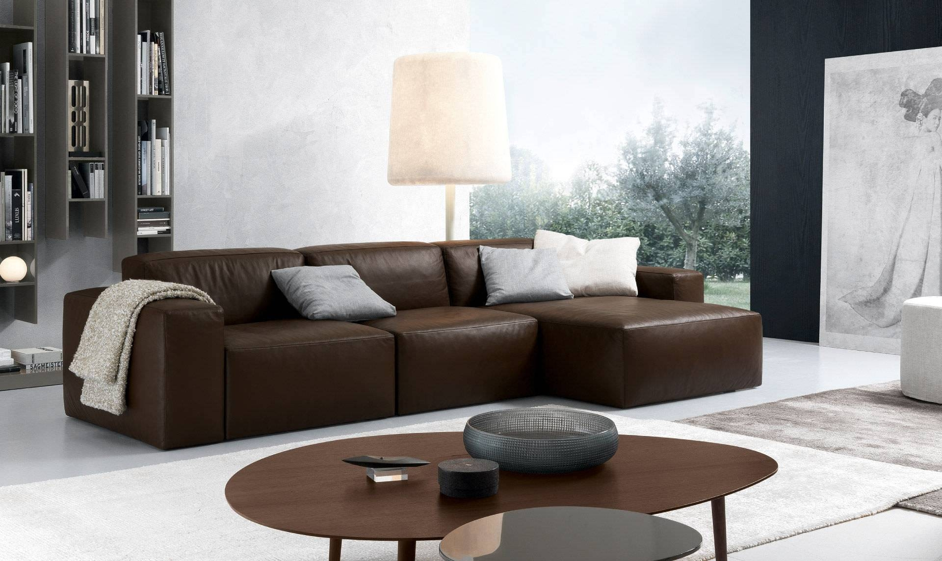 Corner Sofa / Contemporary / Leather / 3-Seater - Daniel regarding Contemporary Brown Leather Sofas (Image 9 of 15)