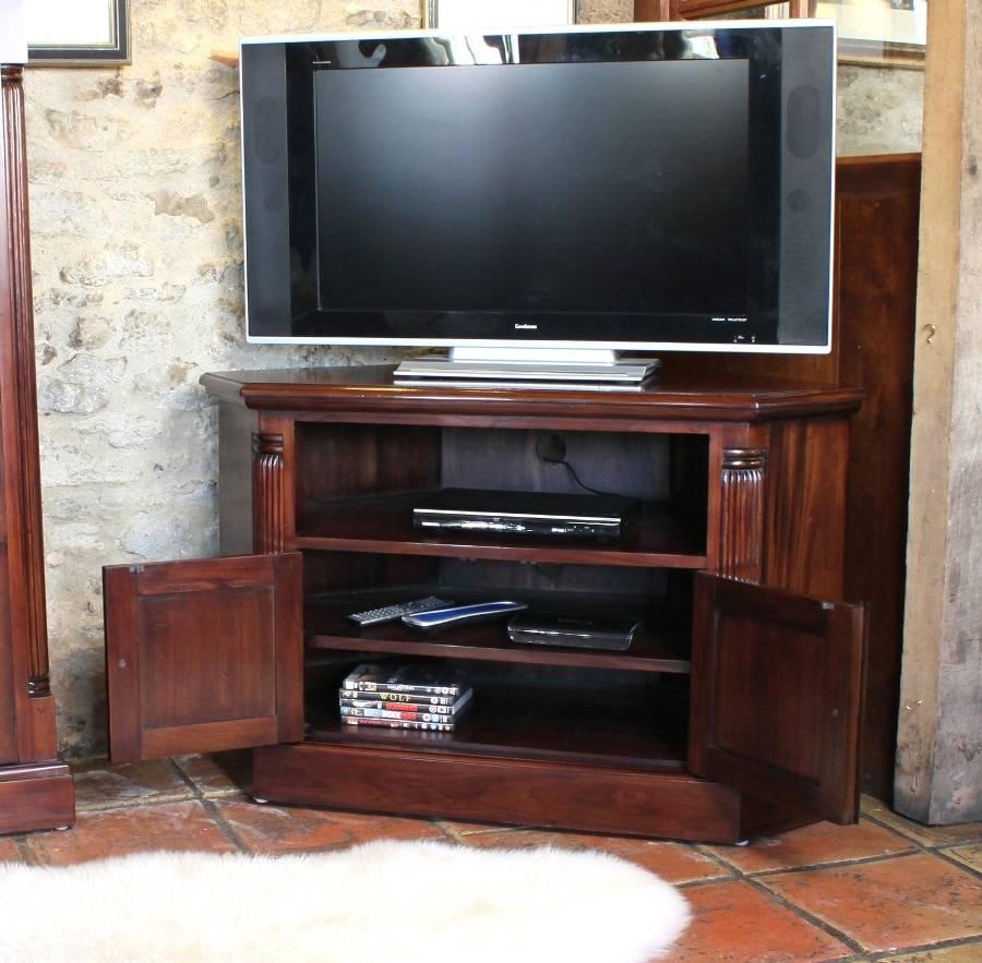 Corner Television Cabinet (Mahogany) • Akd Furniture regarding Mahogany Corner Tv Cabinets (Image 3 of 15)
