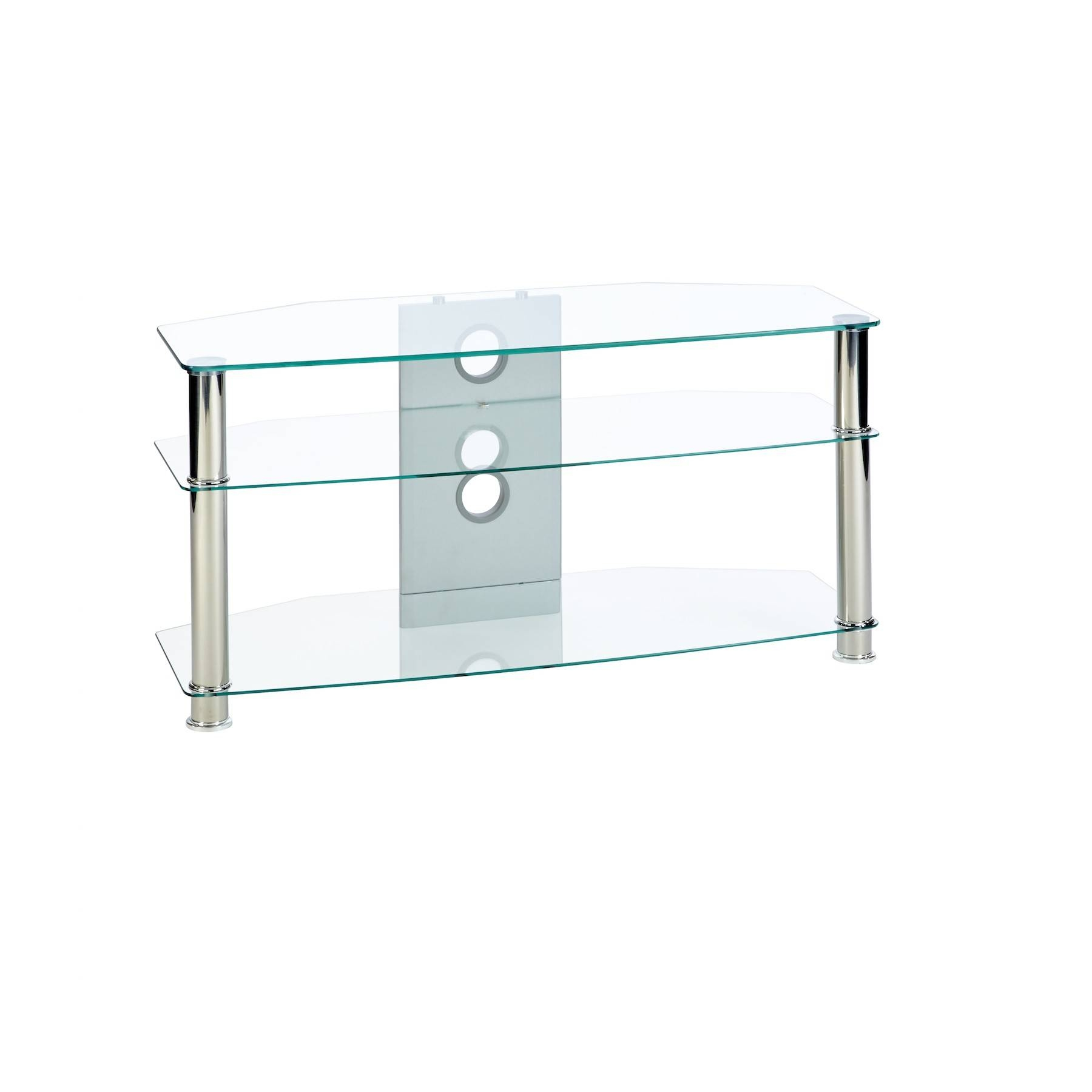 Corner Tv Stand In Clear Glass Up To 42 Inch Tv | Mmt-Cl1000 pertaining to Clear Glass Tv Stand (Image 7 of 15)