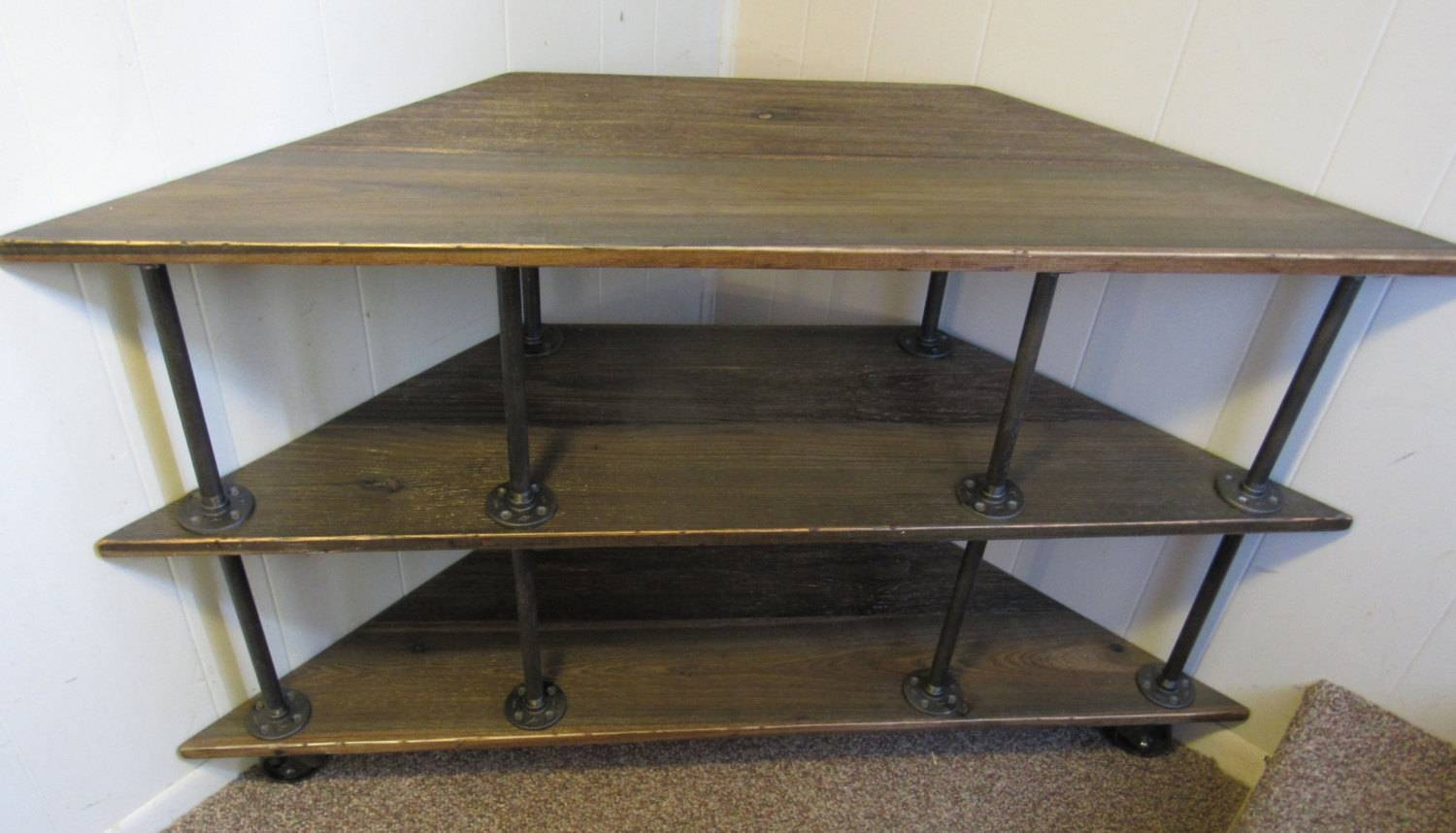 Corner Tv Stand, Industrial, Iron And Wood, For 46 To 52 Tvs with Industrial Corner Tv Stands (Image 6 of 15)