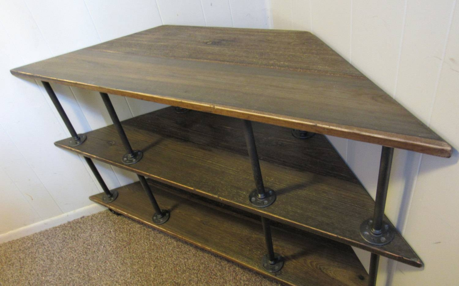 Corner Tv Stand Industrial Iron And Wood For 46 To 52 Tvs Within