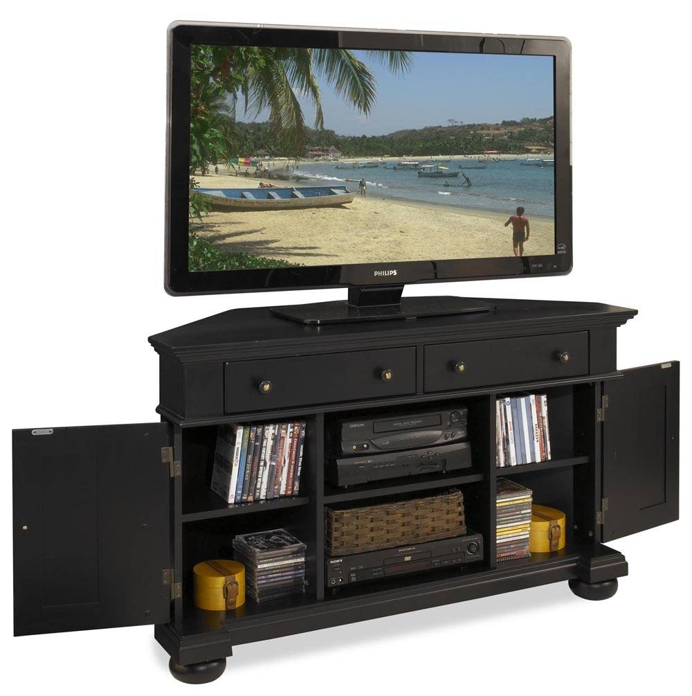 Corner Tv Stand With Dvd Place inside Black Wood Corner Tv Stands (Image 4 of 15)