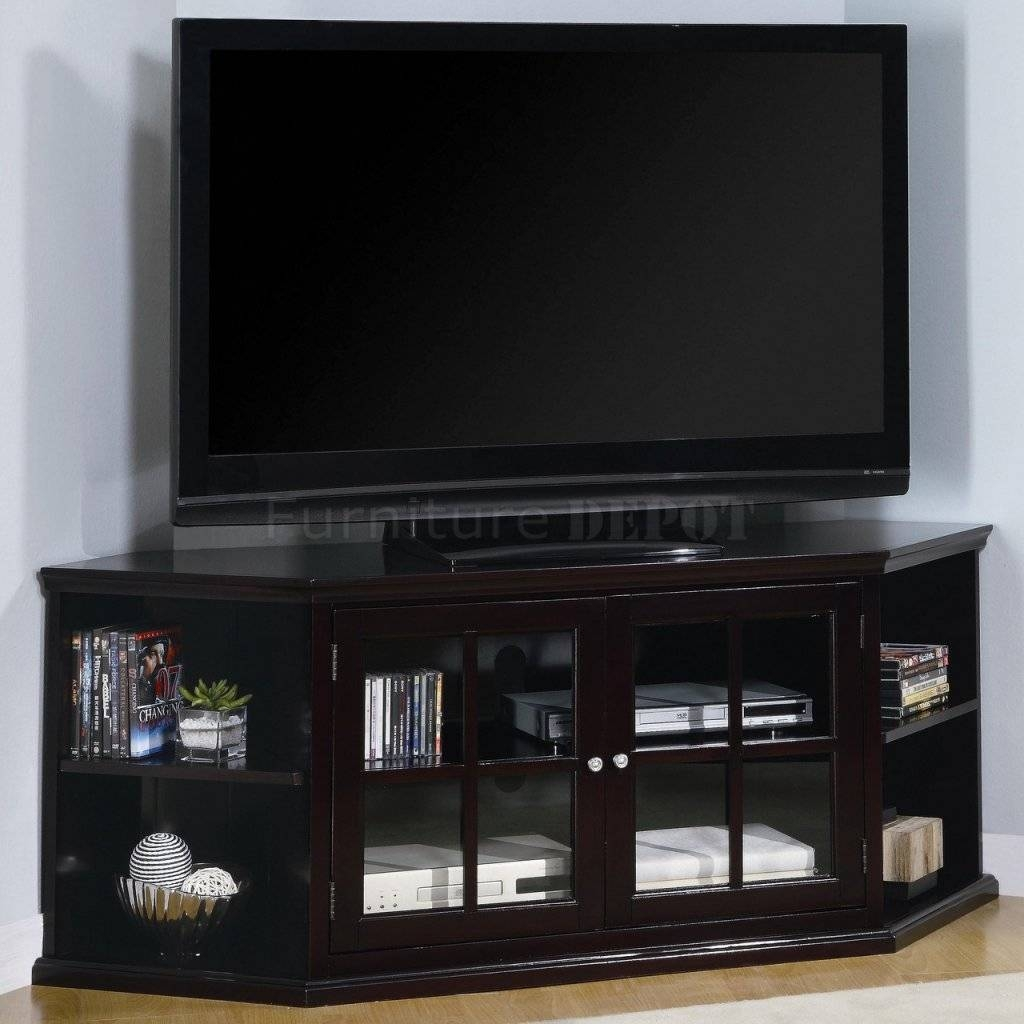 Corner Tv Stand With Glass Door Cabinet And Four Open Shelves regarding Tv Cabinets With Glass Doors (Image 4 of 15)