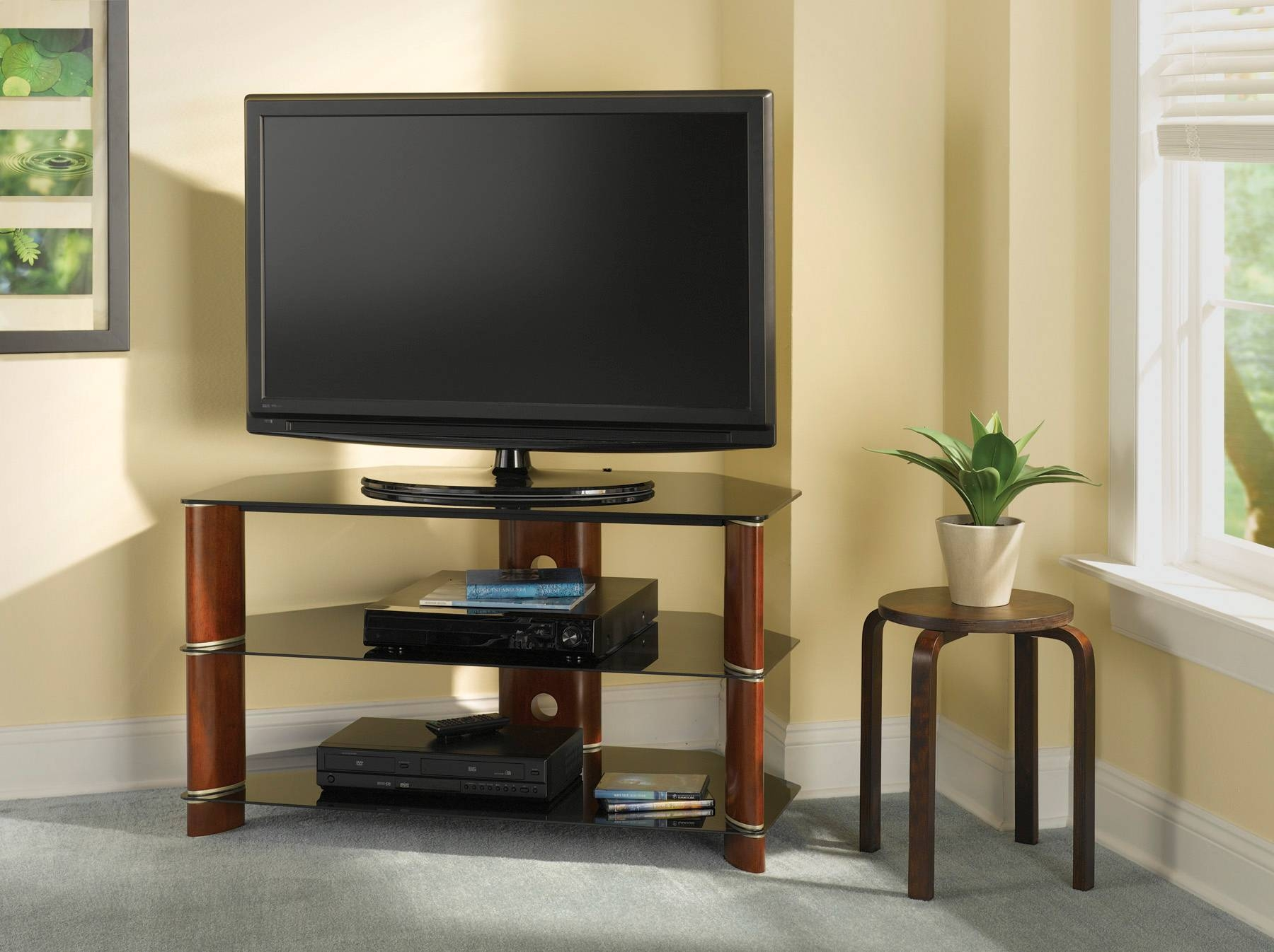 Corner Tv Stands For Flat Screen Tv – Furniture Depot throughout Triangular Tv Stands (Image 5 of 15)