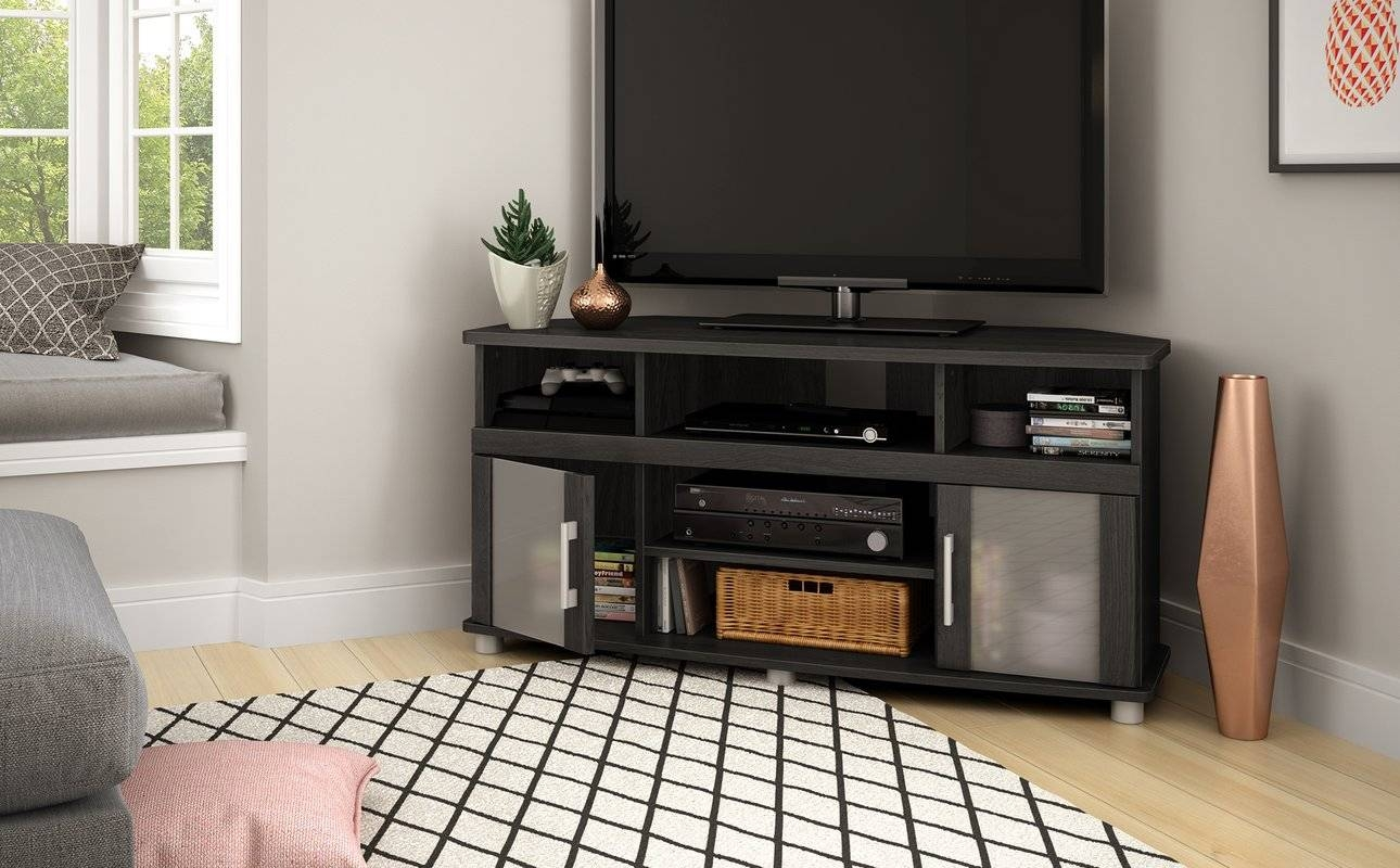 Corner Tv Stands You'll Love intended for Triangular Tv Stand (Image 4 of 15)