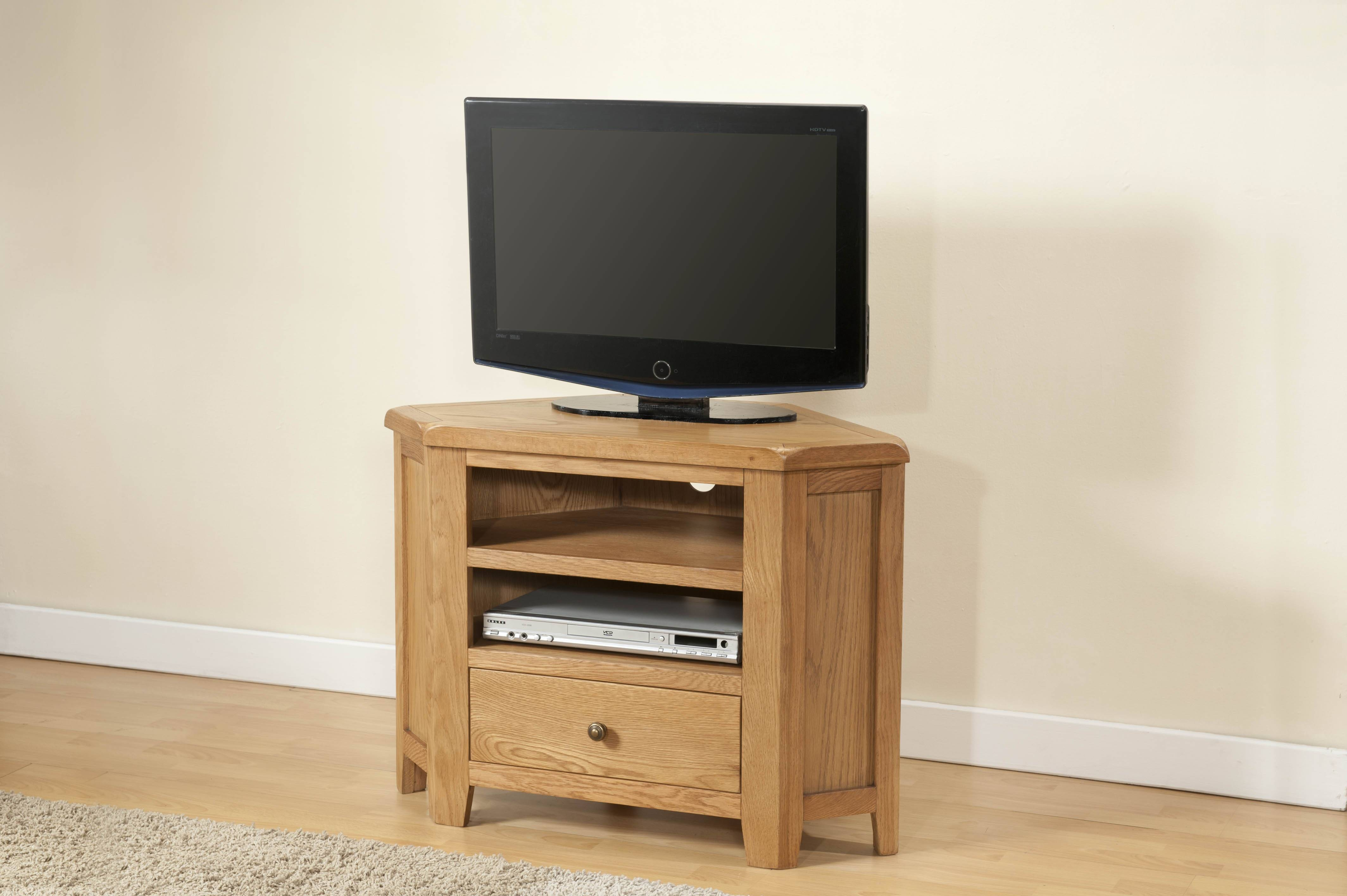Corner Tv Unit (25 06) – Papaya Trading Pertaining To Oak Tv Cabinets For Flat Screens With Doors (View 2 of 15)