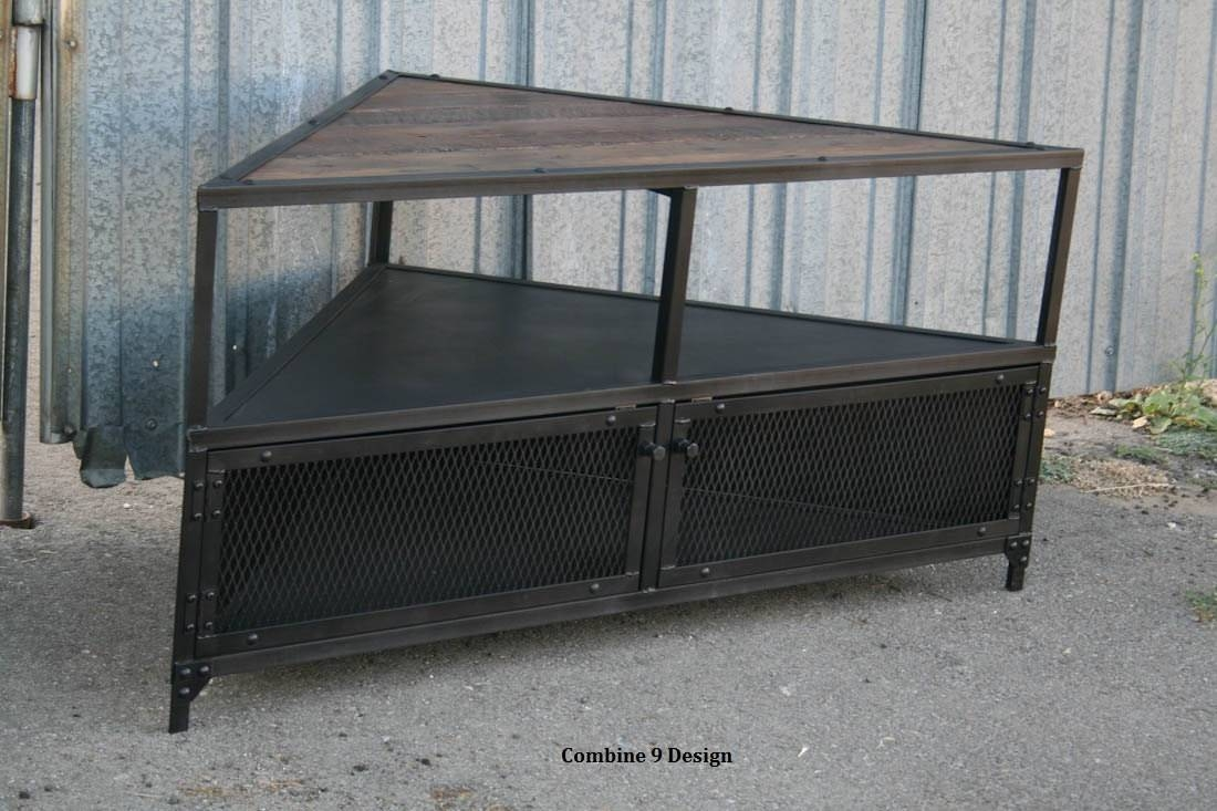 Corner Unit/tv Stand. Vintage/modern Industrial Reclaimed pertaining to Reclaimed Wood and Metal Tv Stands (Image 11 of 15)
