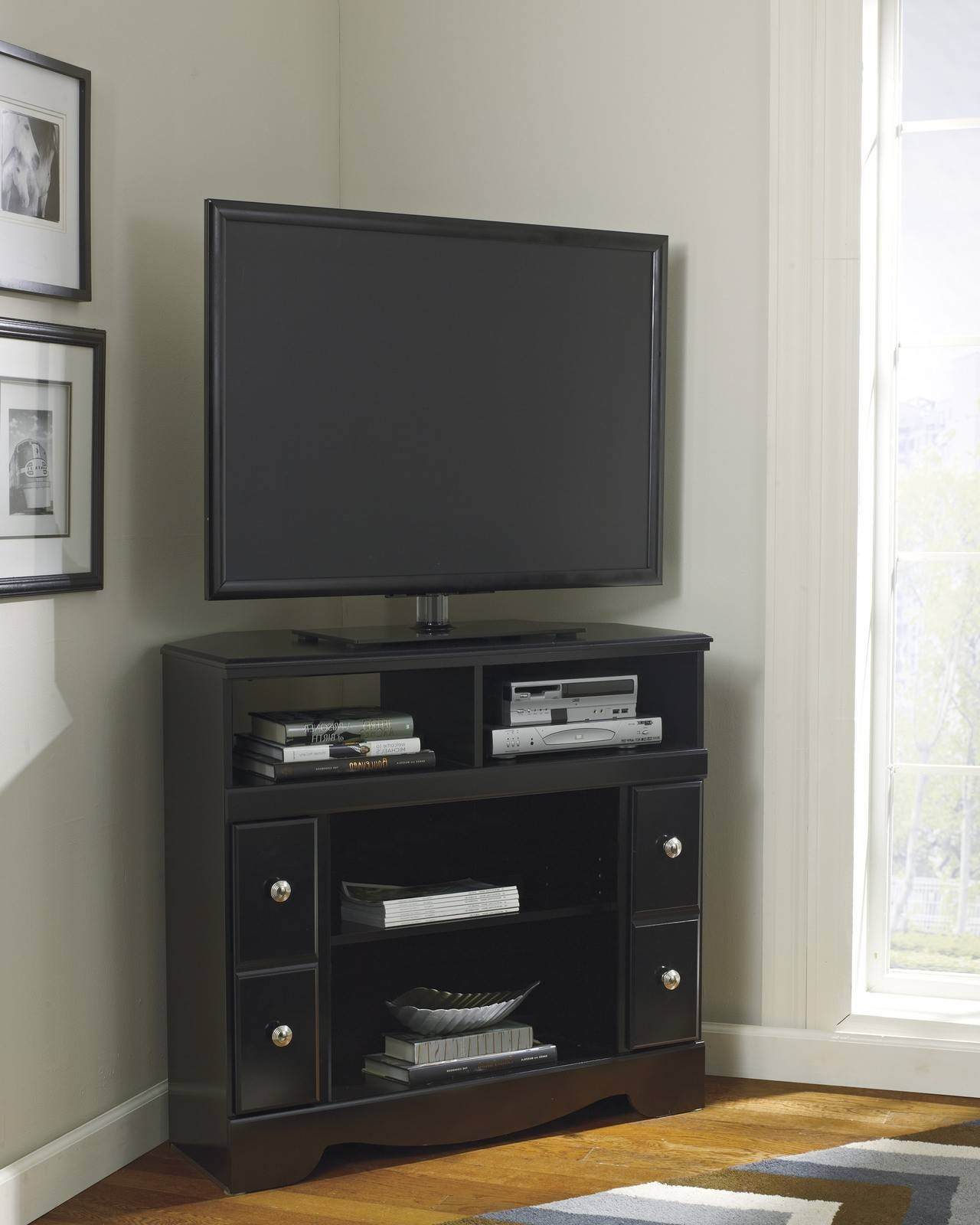 Cornet Tv Stand Cabinet In Black Color With Fireplace Insert with regard to Cornet Tv Stands (Image 3 of 15)