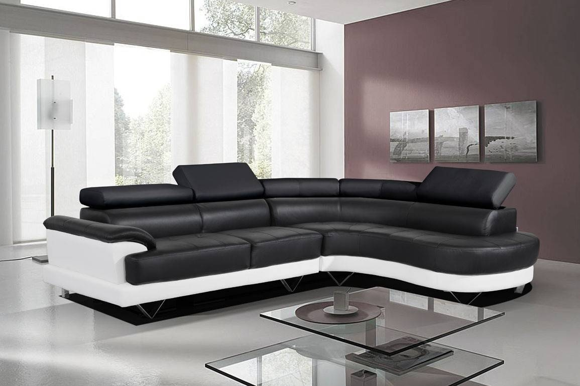 Cosmo Stylist Black And White Leather Corner Sofa Right/hand within Black Leather Corner Sofas (Image 6 of 15)