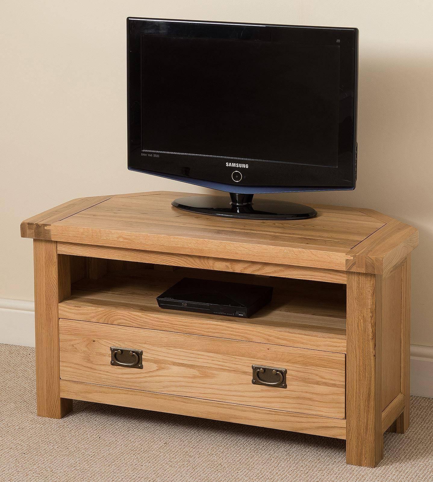 Cottage Light Solid Oak Corner Tv Cabinet | Oak Furniture King with regard to Light Oak Corner Tv Cabinets (Image 2 of 15)