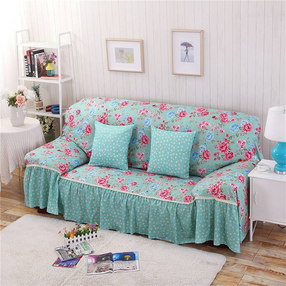 Cotton/polyester Modern Plaid Sofa Towel Flower Floral Stripe Sofa throughout Striped Sofa Slipcovers (Image 3 of 15)