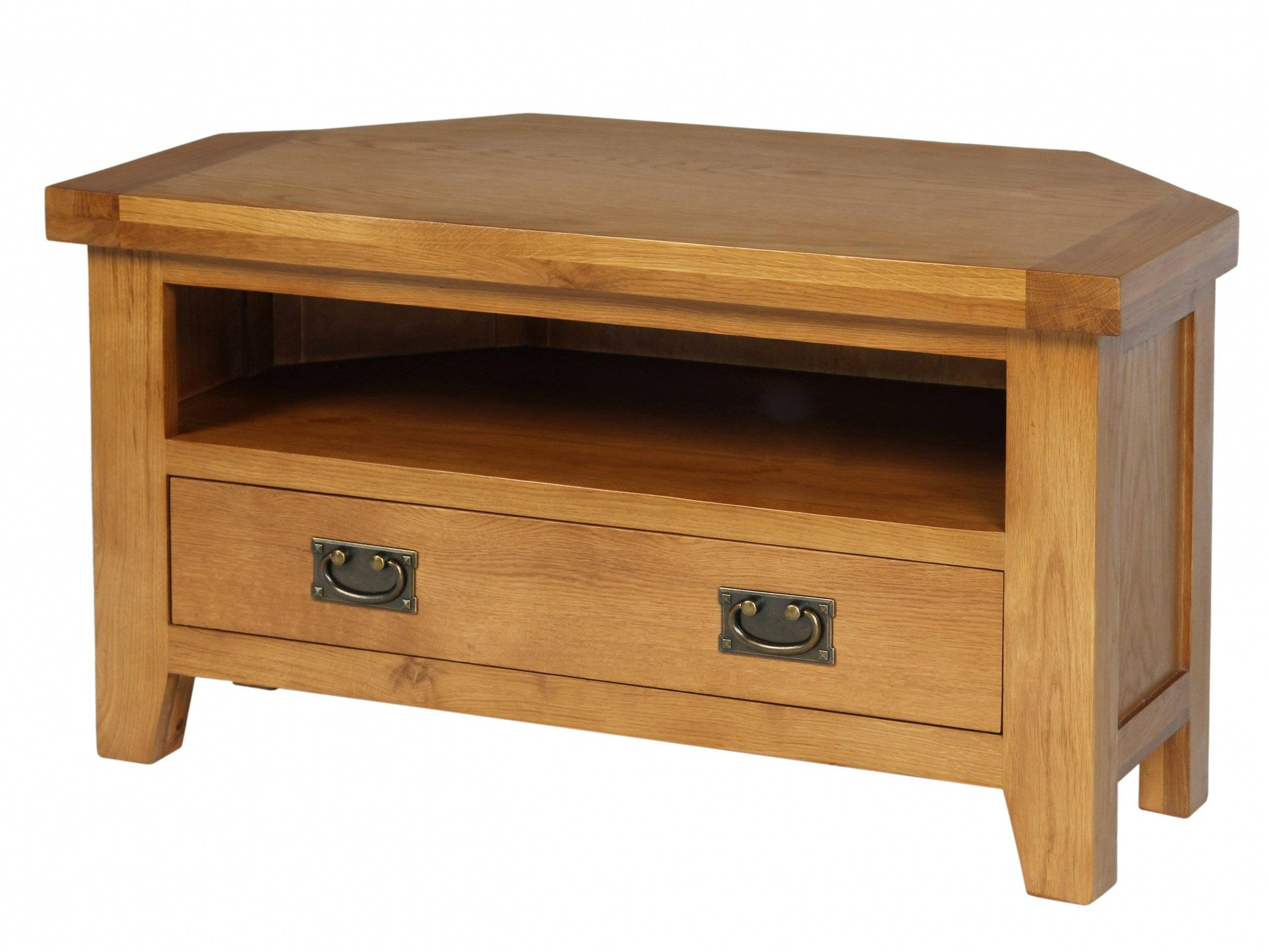 Country Oak Corner Tv Unit with regard to Corner Wooden Tv Cabinets (Image 6 of 15)