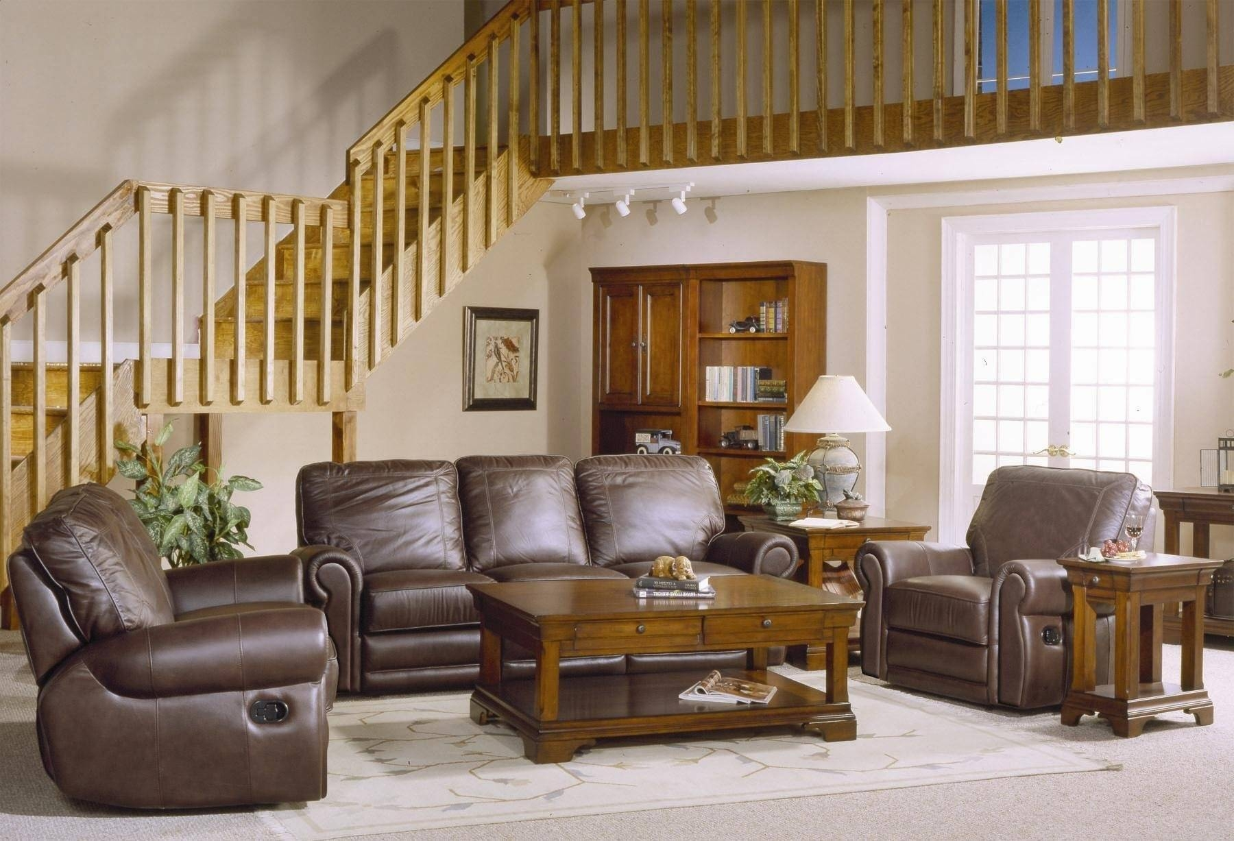 Country Style Brown Leather Sofa Set With Sofa Loveseat And Chair inside Country Style Sofas (Image 3 of 15)