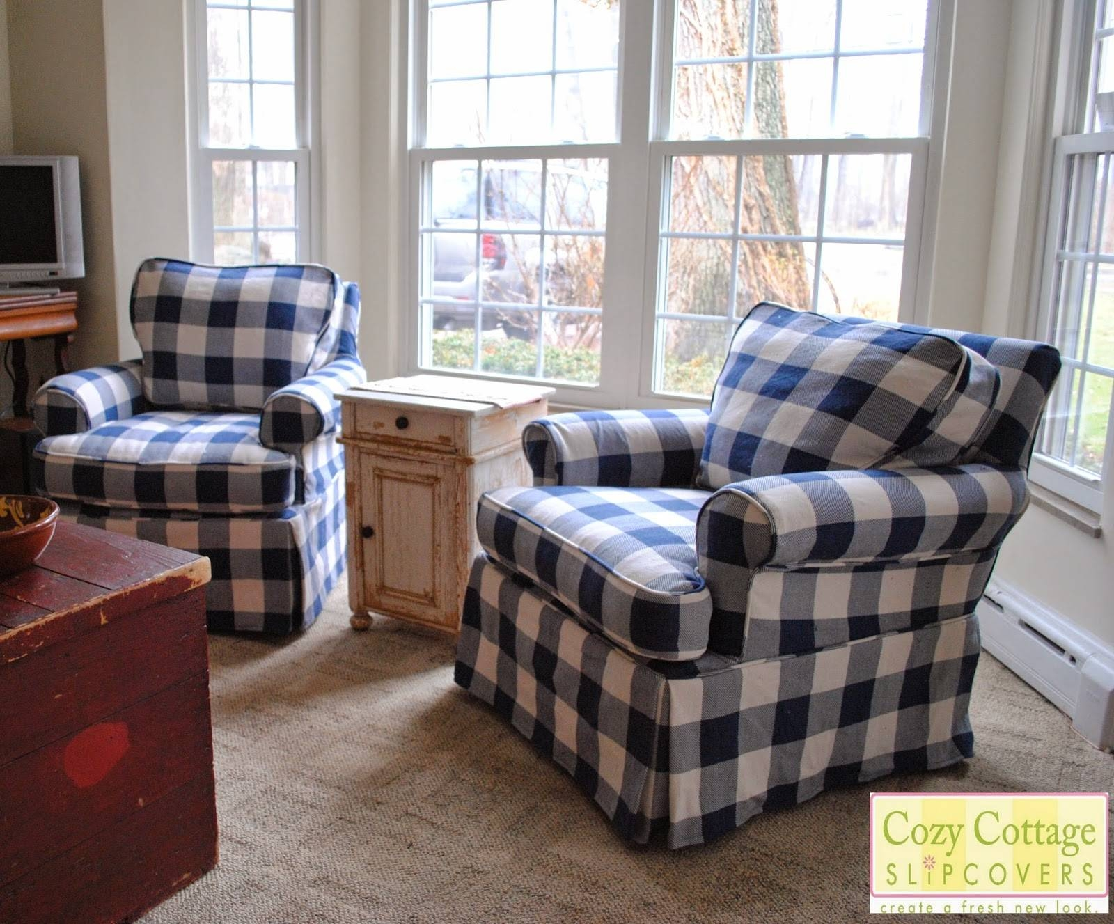 Cozy Cottage Slipcovers: Blue And White Buffalo Check Slipcovers inside Buffalo Check Sofas (Image 11 of 15)