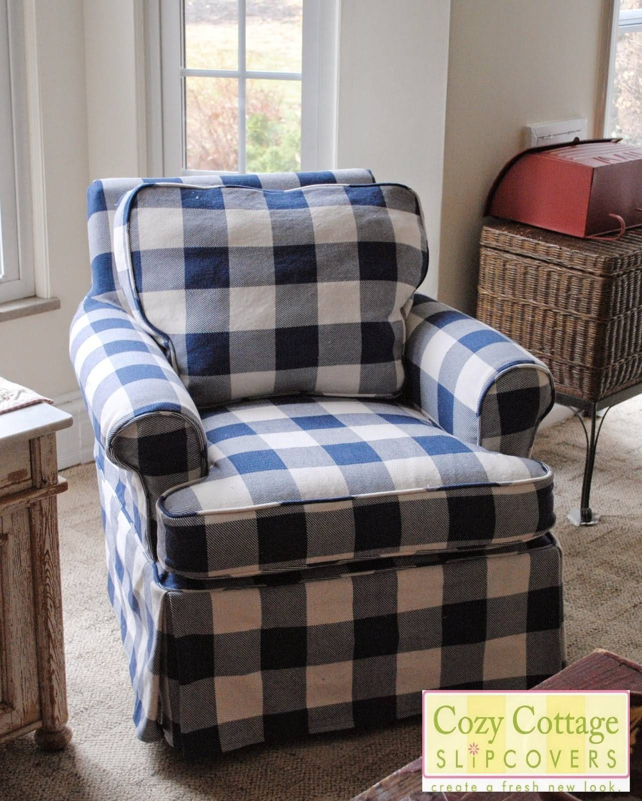 Cozy Cottage Slipcovers: Blue And White Buffalo Check Slipcovers with Buffalo Check Sofas (Image 13 of 15)