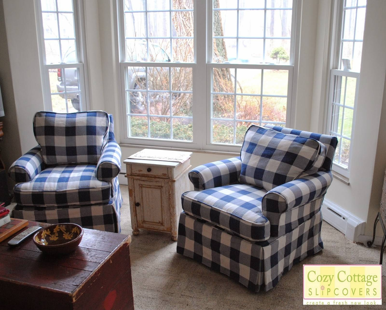 Cozy Cottage Slipcovers: Blue And White Buffalo Check Slipcovers with Buffalo Check Sofas (Image 12 of 15)