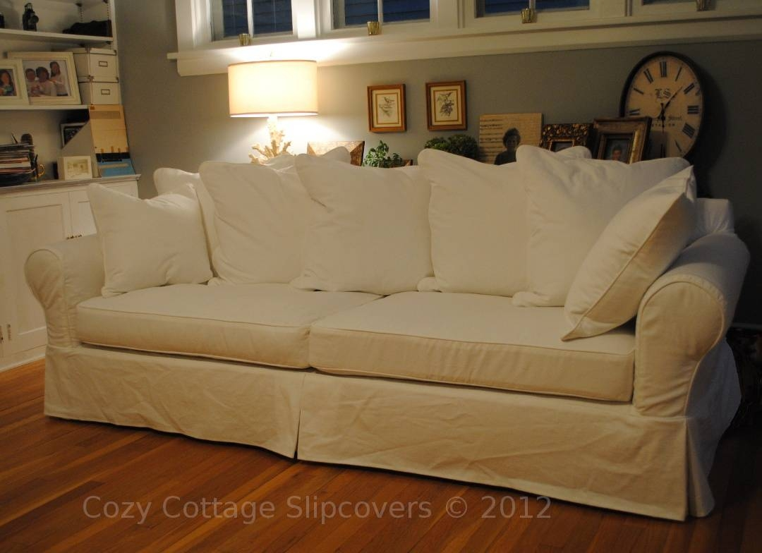 Cozy Cottage Slipcovers: Pillow Back Sofa Slipcover within Arhaus Slipcovers (Image 3 of 15)