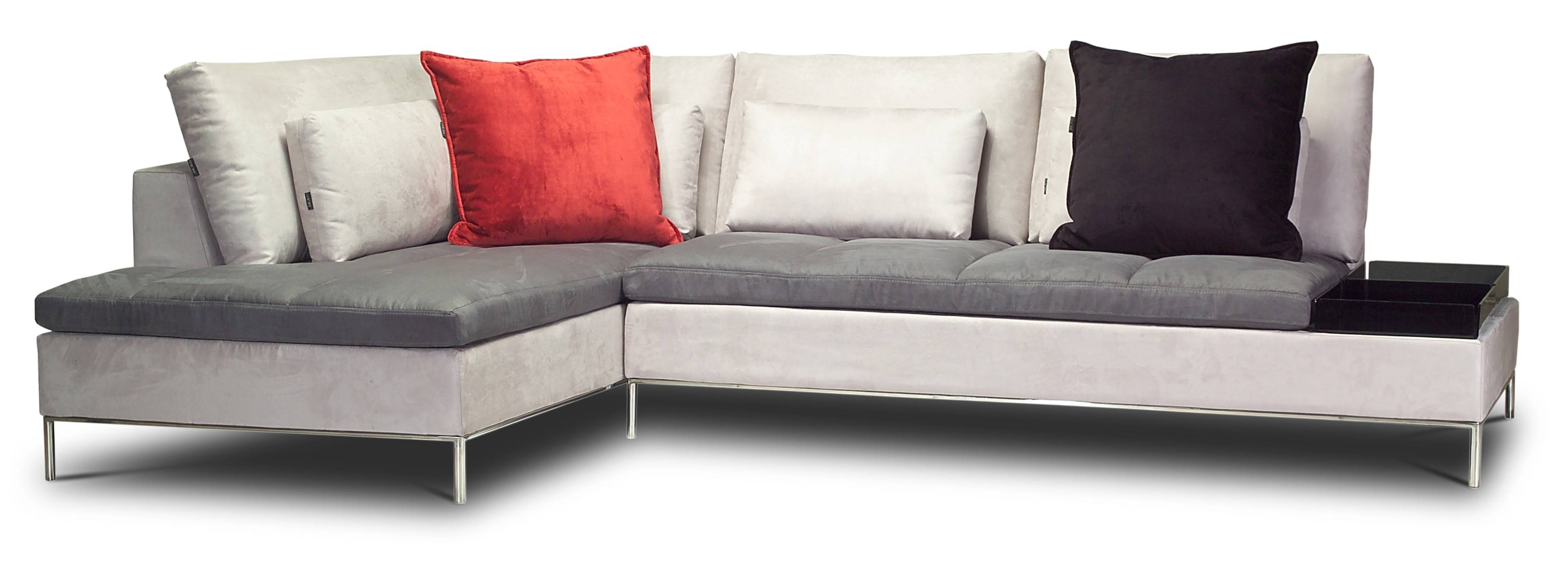 Cream Color L Shaped Sectional Couch With Gray Leather Cushion And for Small L-Shaped Sectional Sofas (Image 5 of 15)