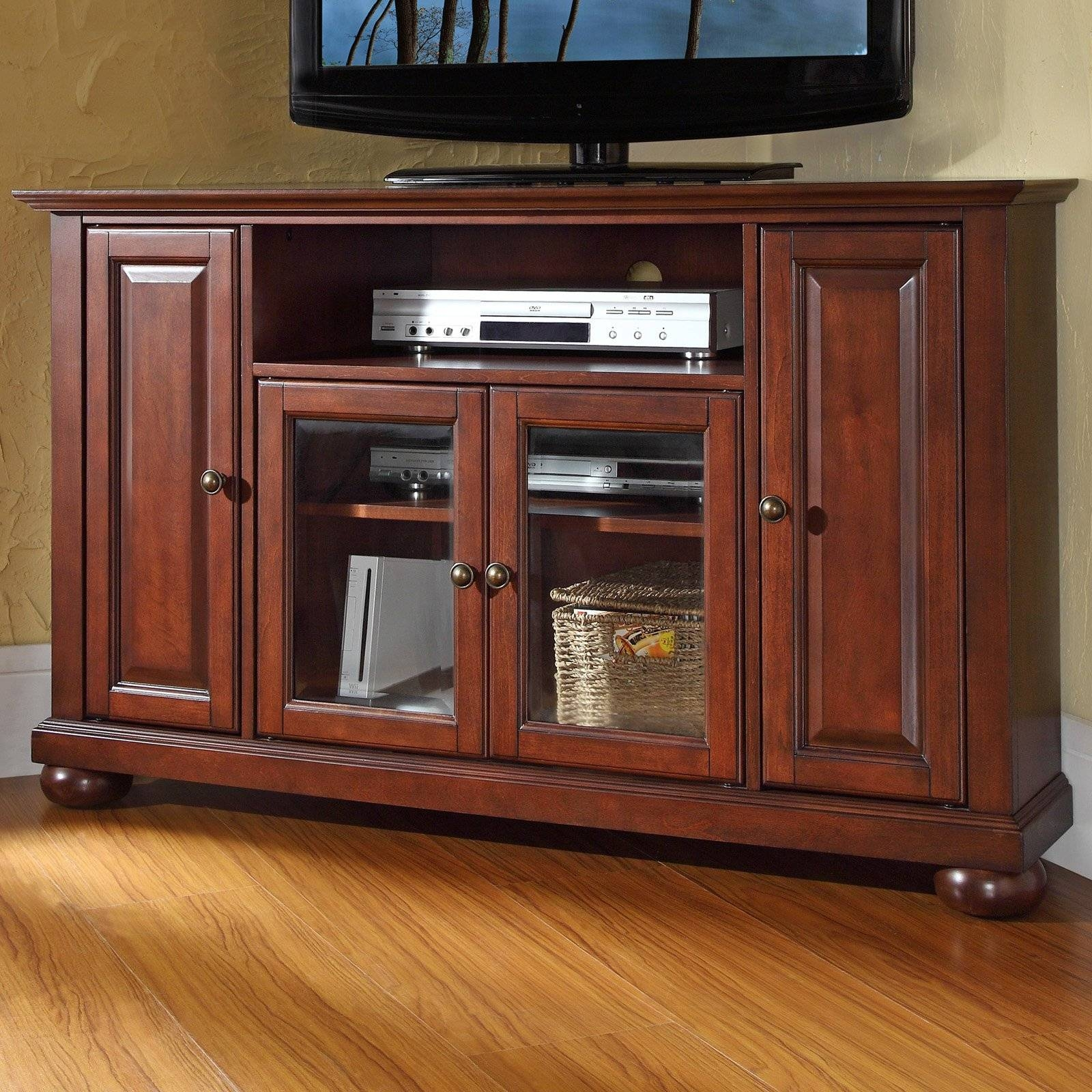 Crosley Alexandria 48 In. Corner Tv Stand - Vintage Mahogany pertaining to Mahogany Corner Tv Cabinets (Image 5 of 15)