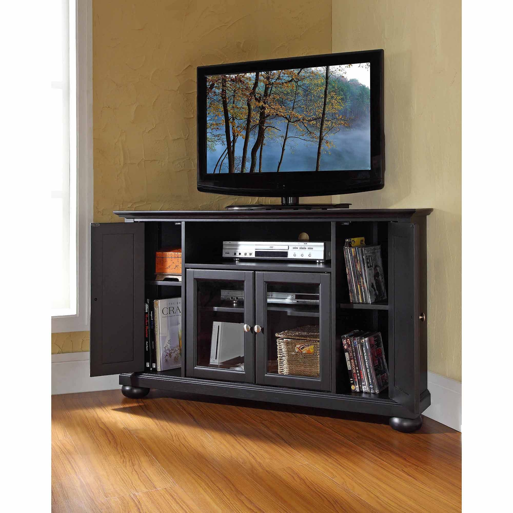 Crosley Furniture Alexandria Corner Tv Stand For Tvs Up To 48 Inside Black Corner Tv Cabinets (View 6 of 15)