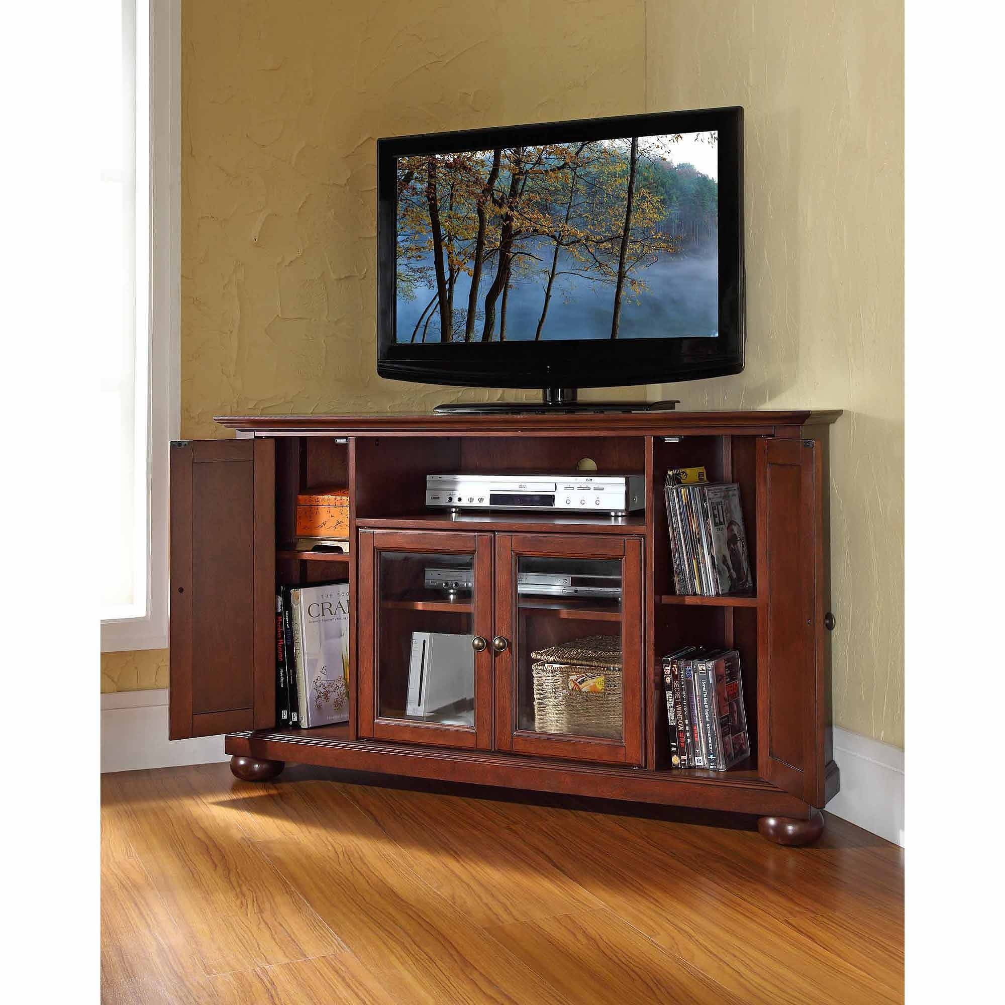 Crosley Furniture Alexandria Corner Tv Stand For Tvs Up To 48 With Regard To Wood Corner Tv Cabinets (View 14 of 15)