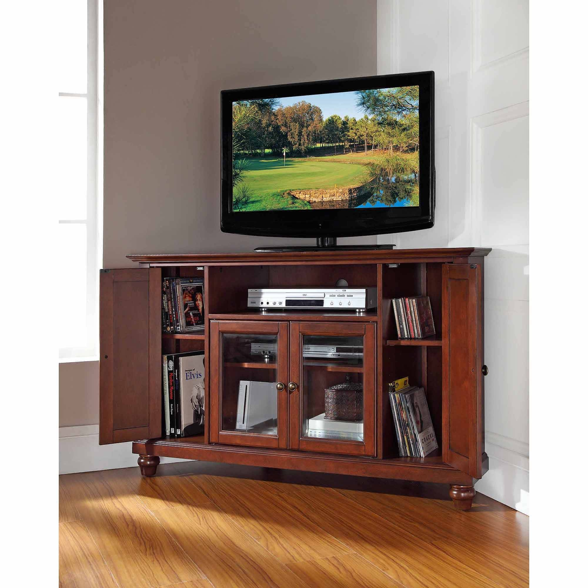 Crosley Furniture Cambridge Corner Tv Stand For Tvs Up To 48 Within Cherry Wood Tv Stands (View 13 of 15)