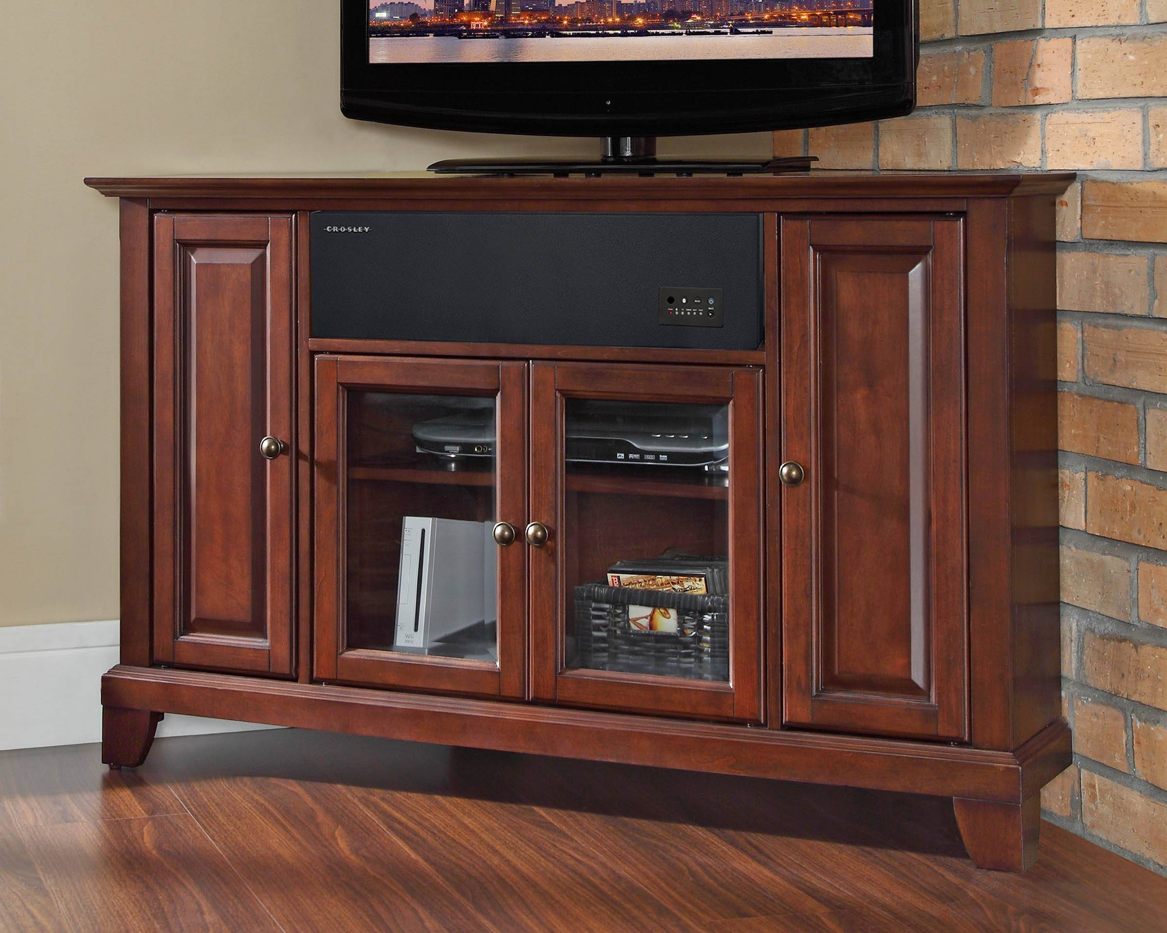 Crosley Furniture Newport 48 Inch Corner Aroundsound Tv Stand In regarding Mahogany Corner Tv Cabinets (Image 7 of 15)
