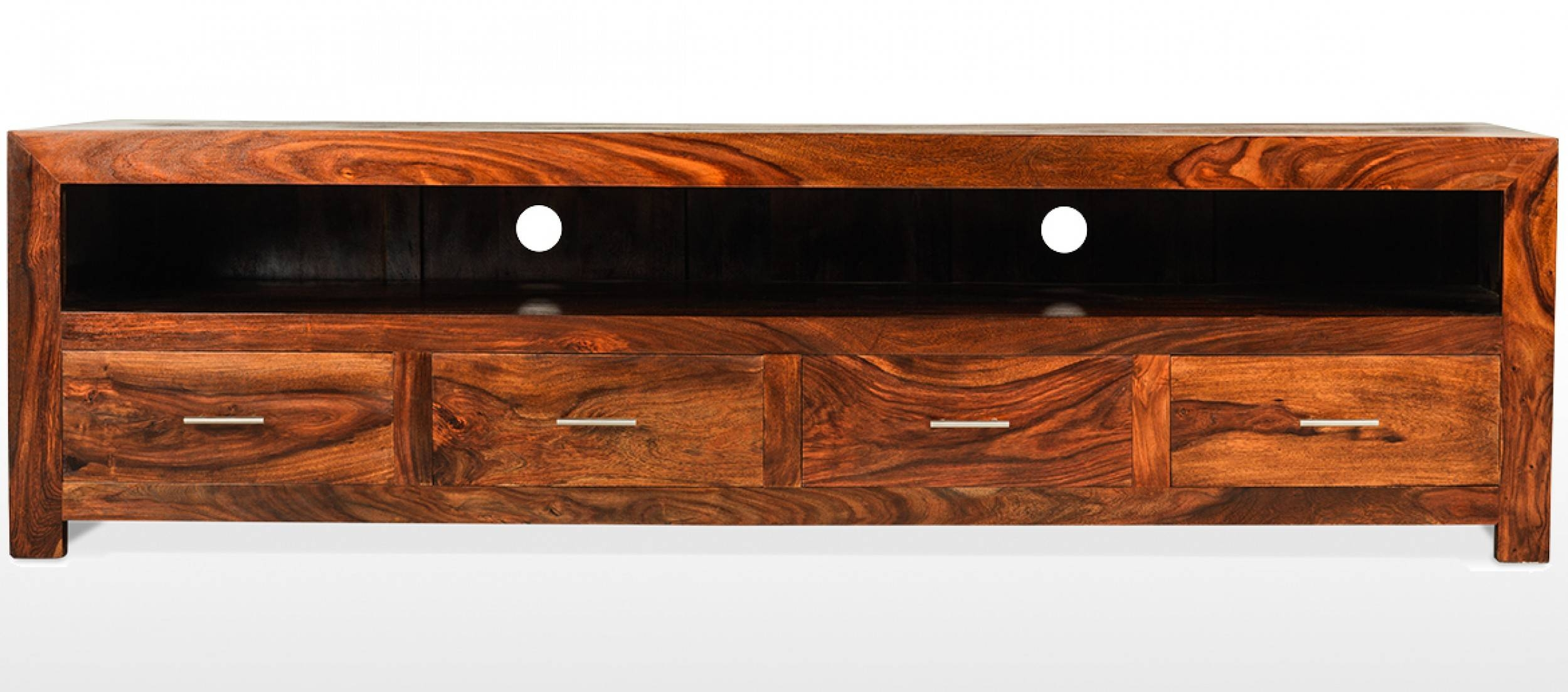 Cube Sheesham Long Plasma Tv Cabinet | Quercus Living inside Chunky Tv Cabinets (Image 2 of 15)