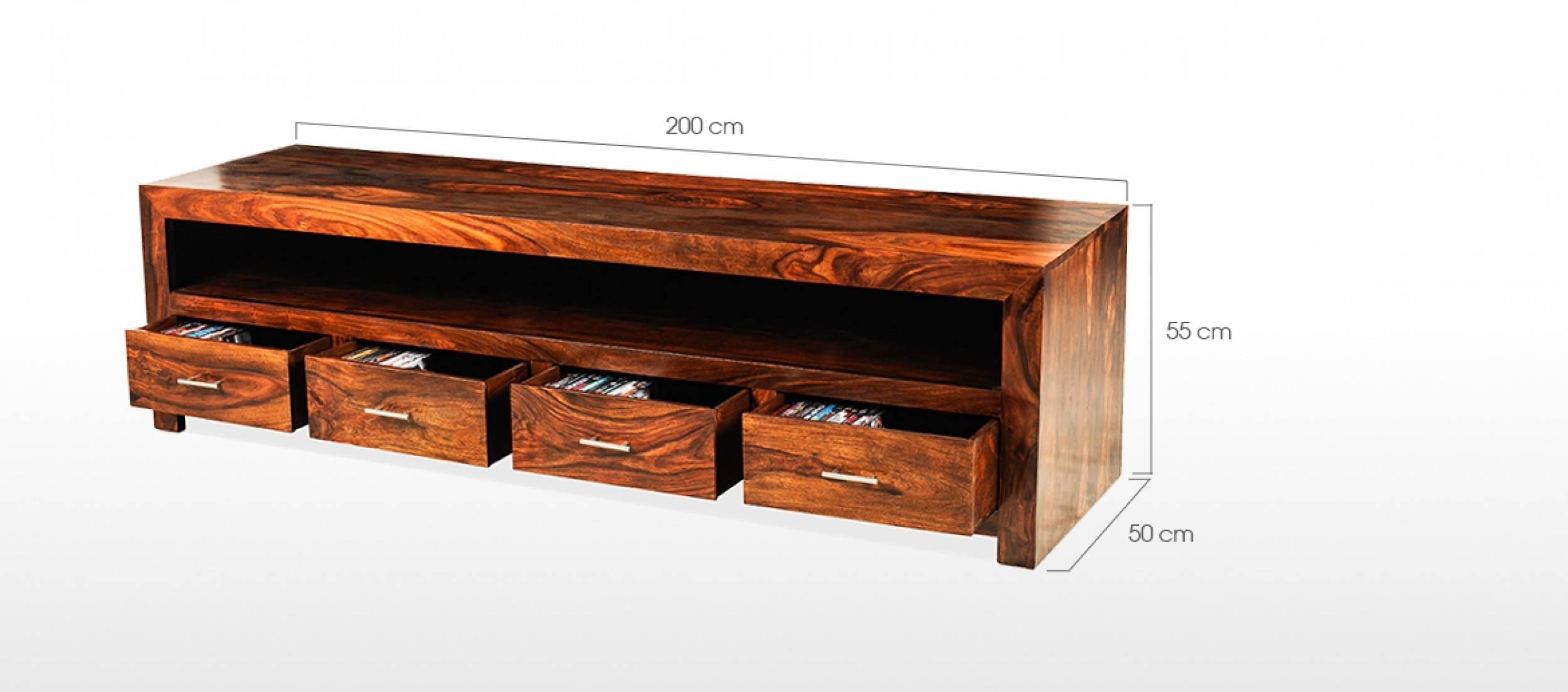 Cube Sheesham Long Plasma Tv Cabinet | Quercus Living with Plasma Tv Stands (Image 3 of 15)