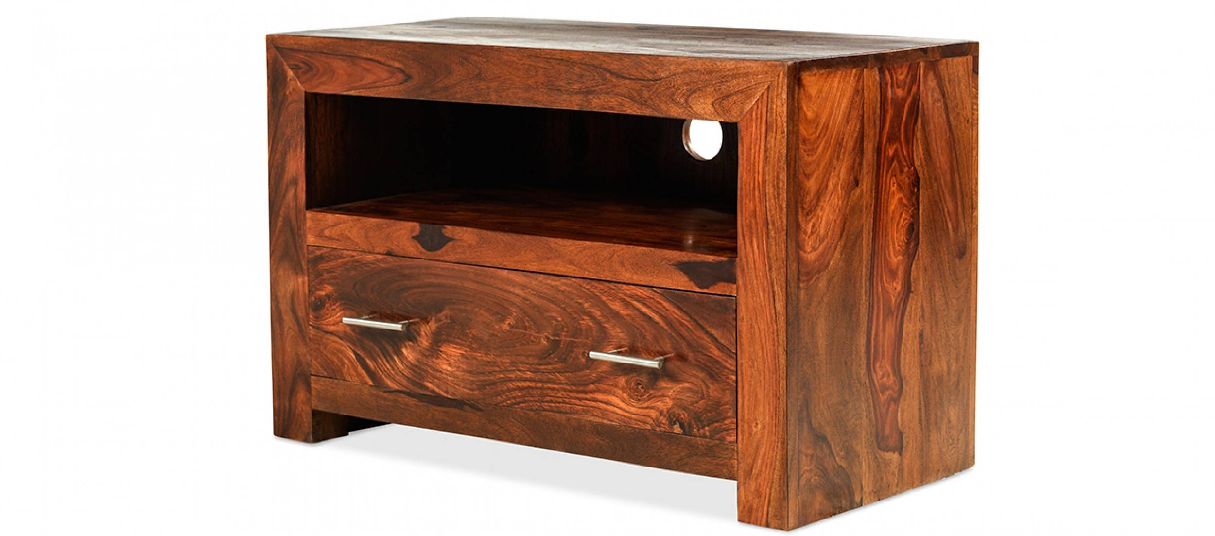 Cube Sheesham Square Tv Stand | Quercus Living Regarding Square Tv Stands (View 8 of 15)