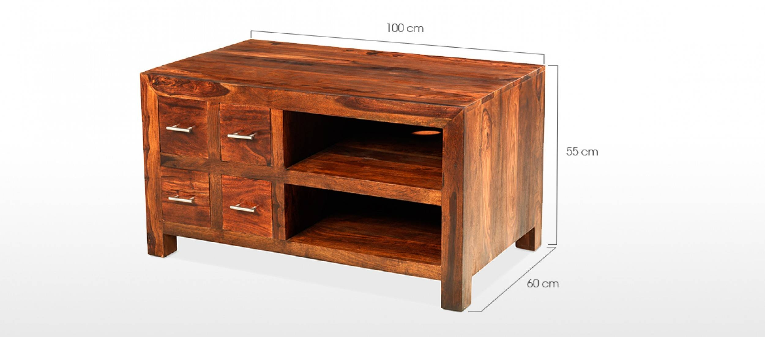 Cube Sheesham Tv Cabinet | Quercus Living throughout Sheesham Tv Stands (Image 5 of 15)